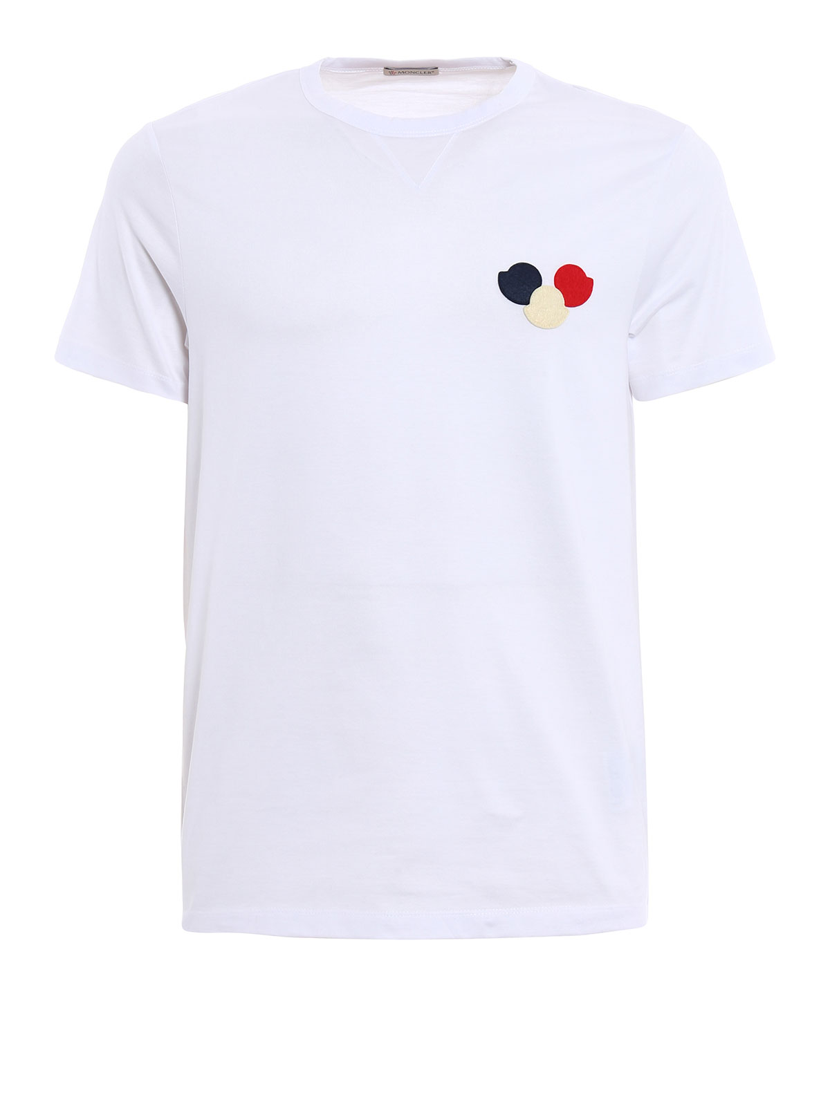 tricolour logo appliqu tee by moncler t shirts ikrix. Black Bedroom Furniture Sets. Home Design Ideas