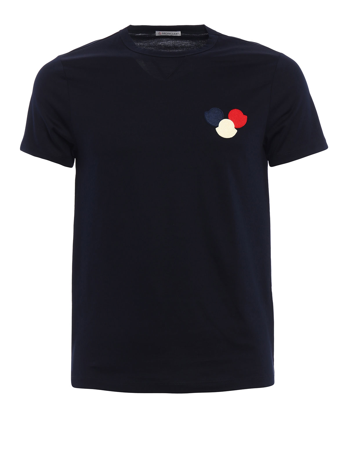 tricolour logo appliqu tee by moncler t shirts shop. Black Bedroom Furniture Sets. Home Design Ideas