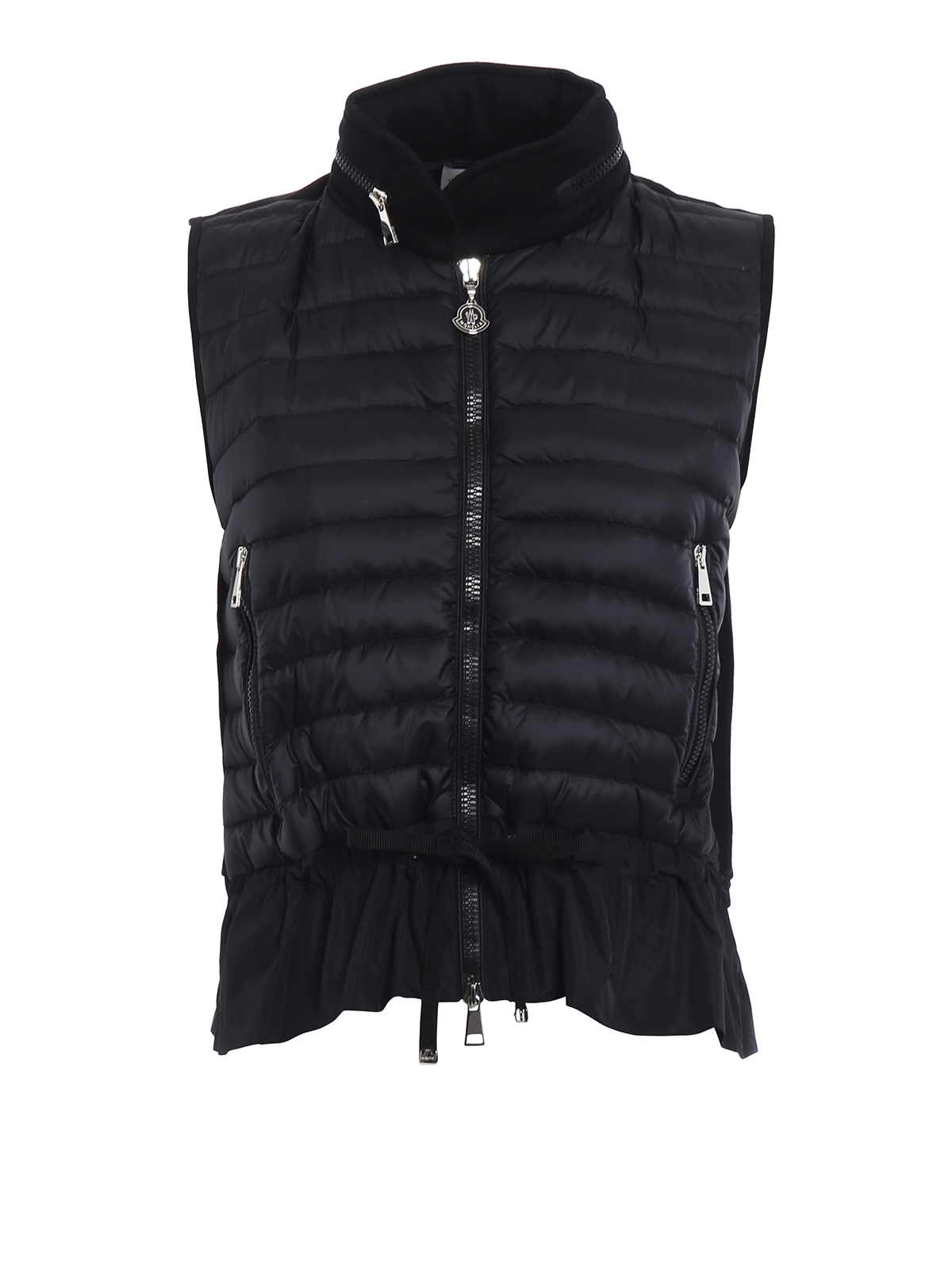 MONCLER: waistcoats & gilets - Black cotton and padded nylon gilet