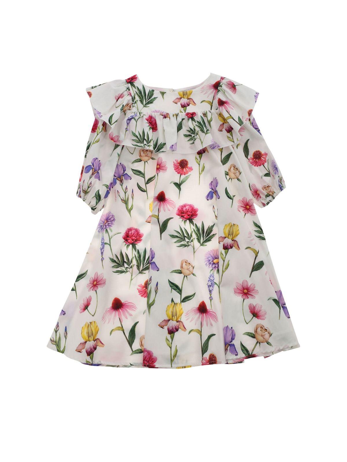 Monnalisa MAXI FLOWER PRINT DRESS IN WHITE