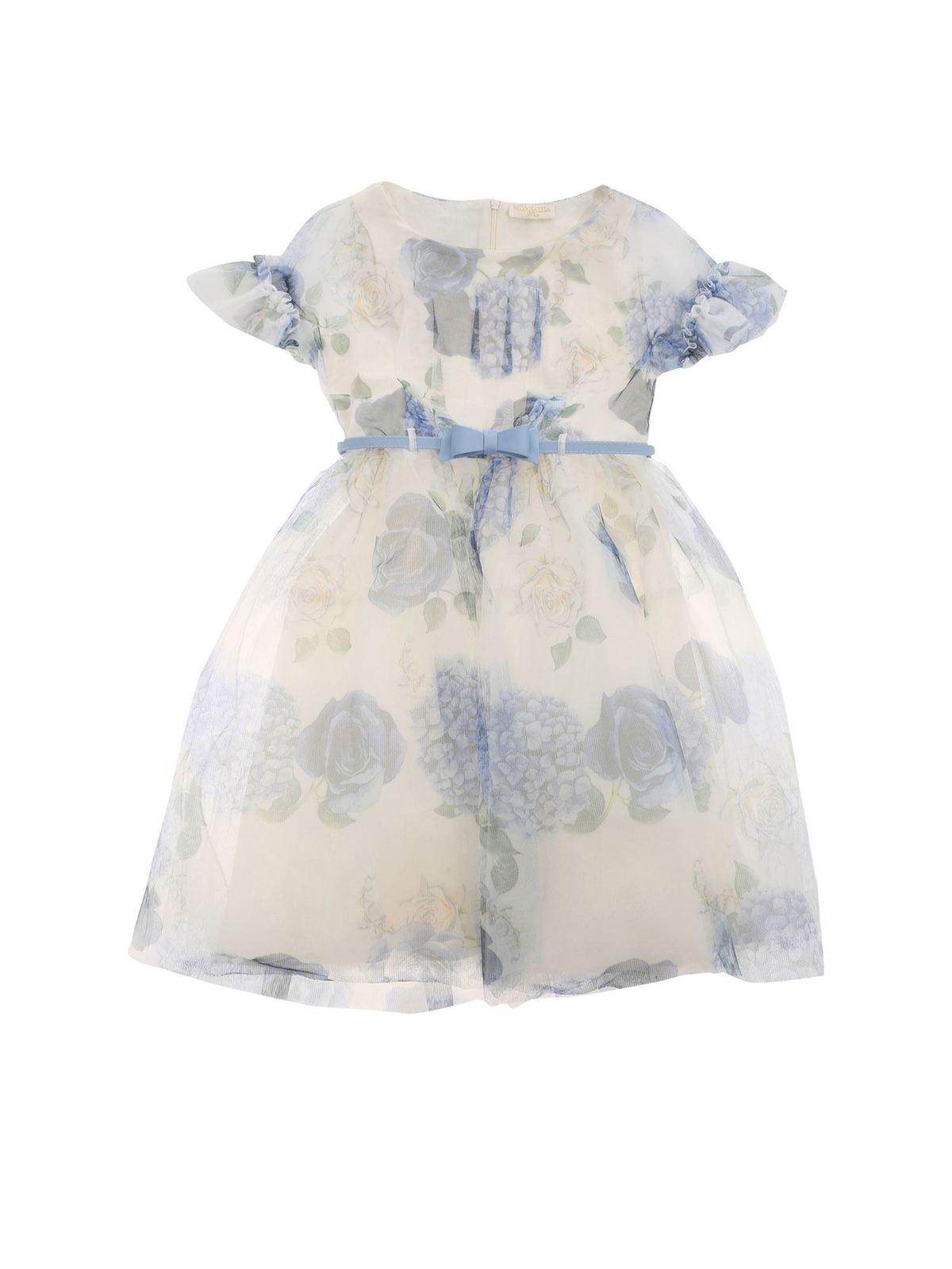 Monnalisa ROMANTIC GARDEN DRESS IN WHITE