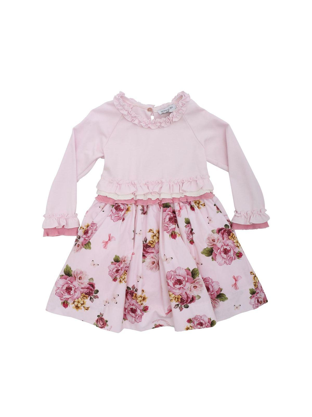Monnalisa Abito stampa bouquet di rosa abiti