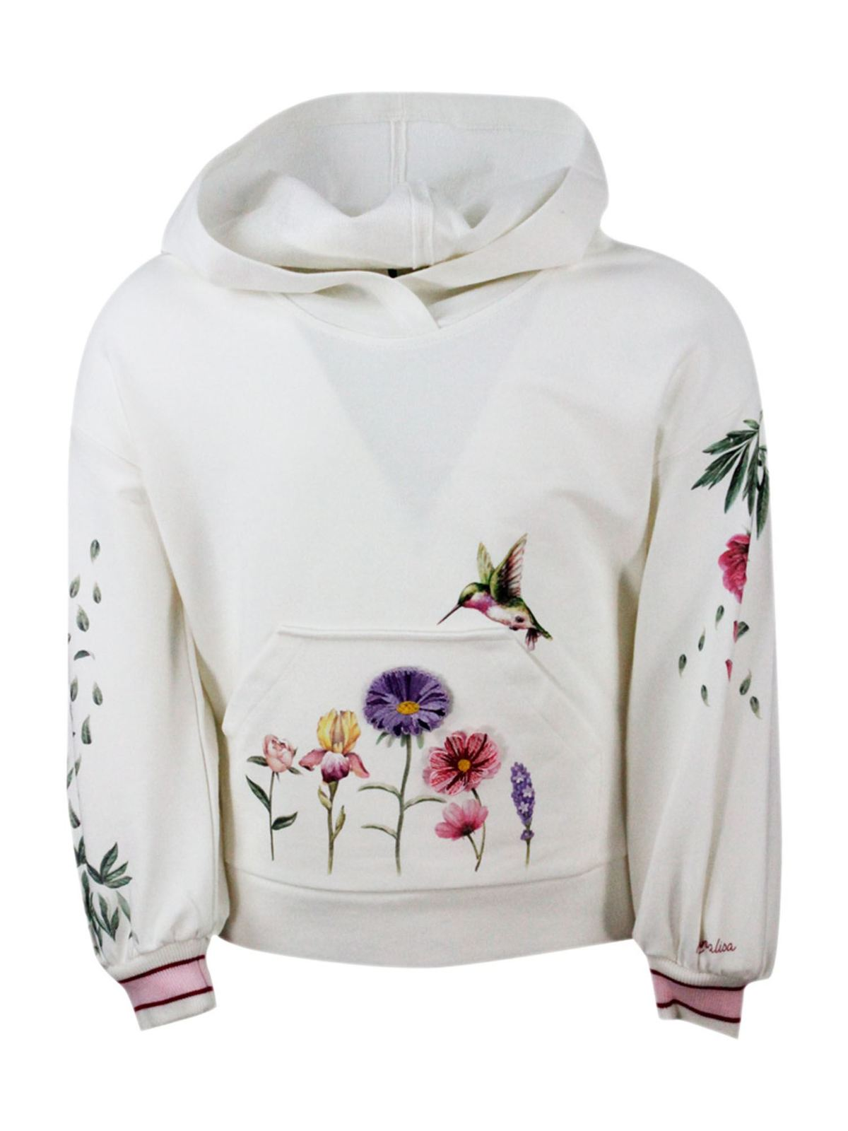 Monnalisa Cottons FLORAL EMBROIDERY HOODIE IN WHITE