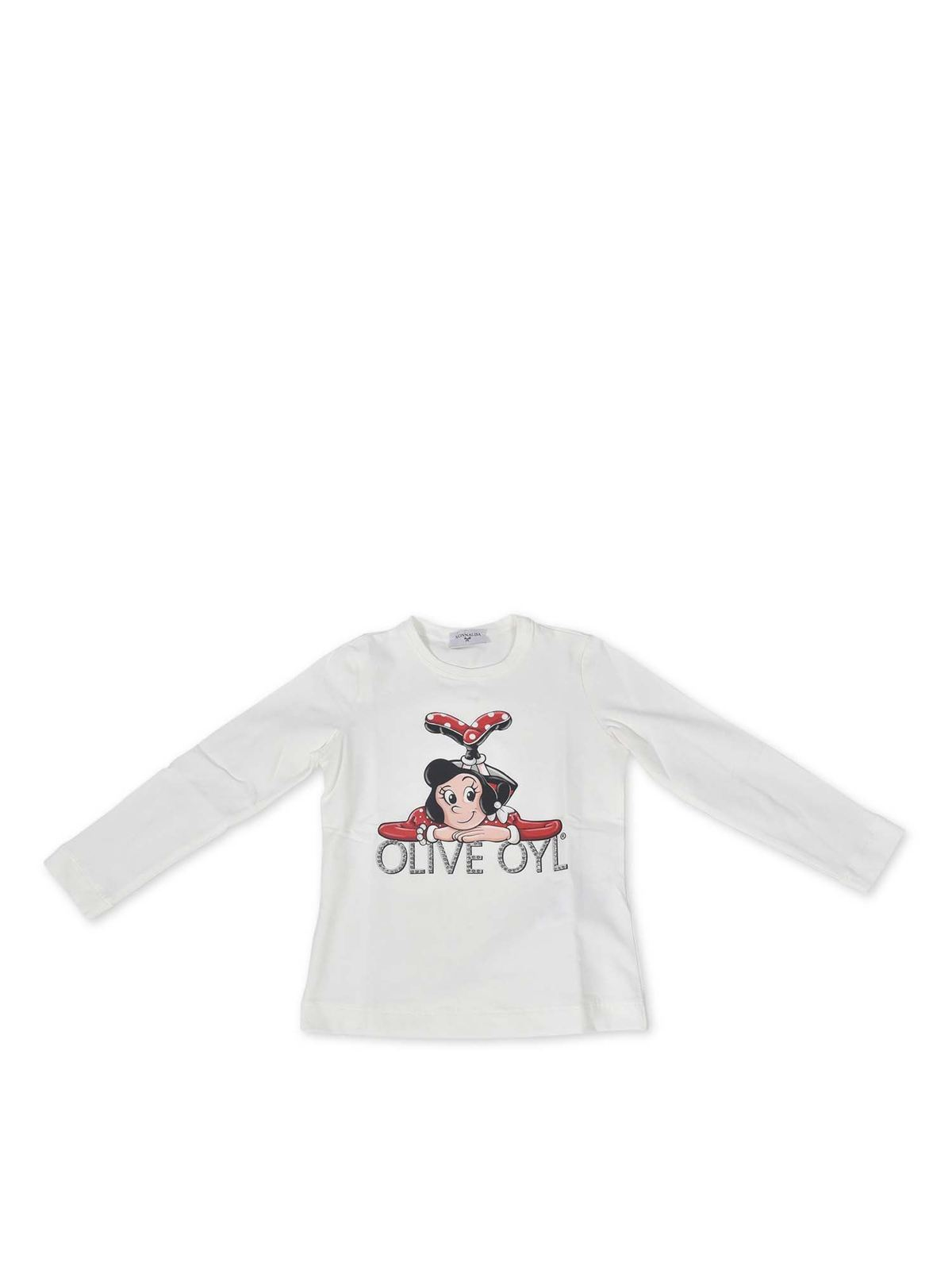 Monnalisa Cottons OLIVE OYL PRINT T-SHIRT IN WHITE