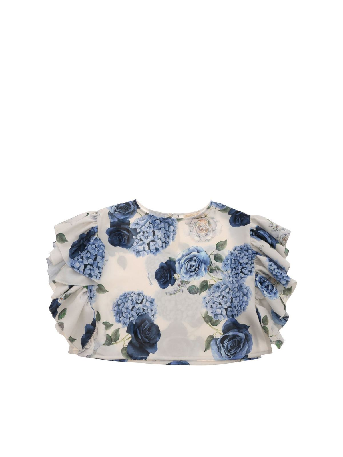 Monnalisa HYDRANGEA PRINT TOP IN WHITE AND BLUE