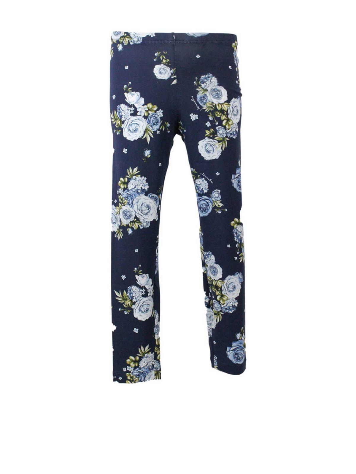 Monnalisa Cottons FLOWERS PANTS IN BLUE