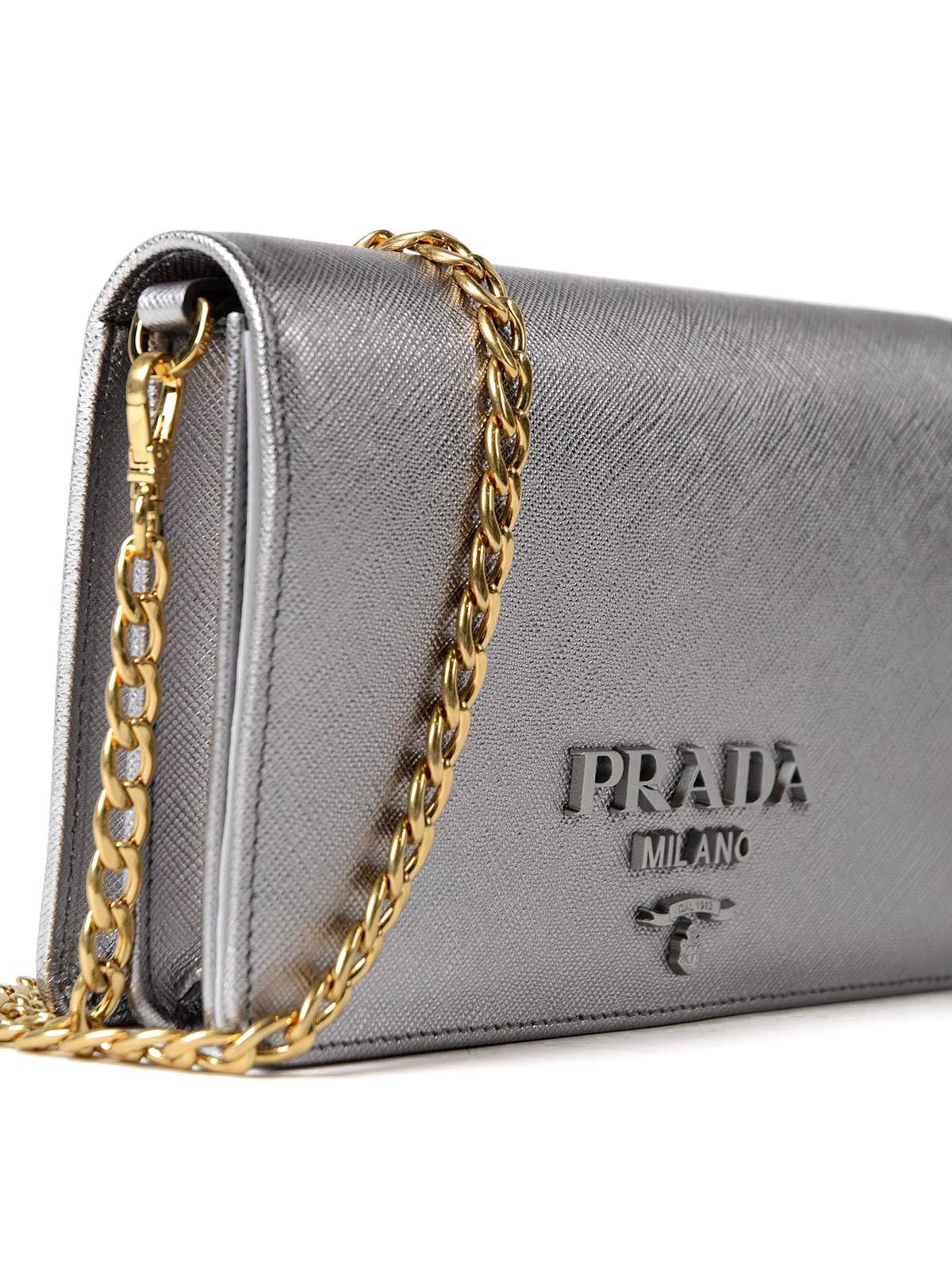 0085043a6d5f Prada Monochrome Silver Wallet Bag Clutches 1bp012nzvvkwo135