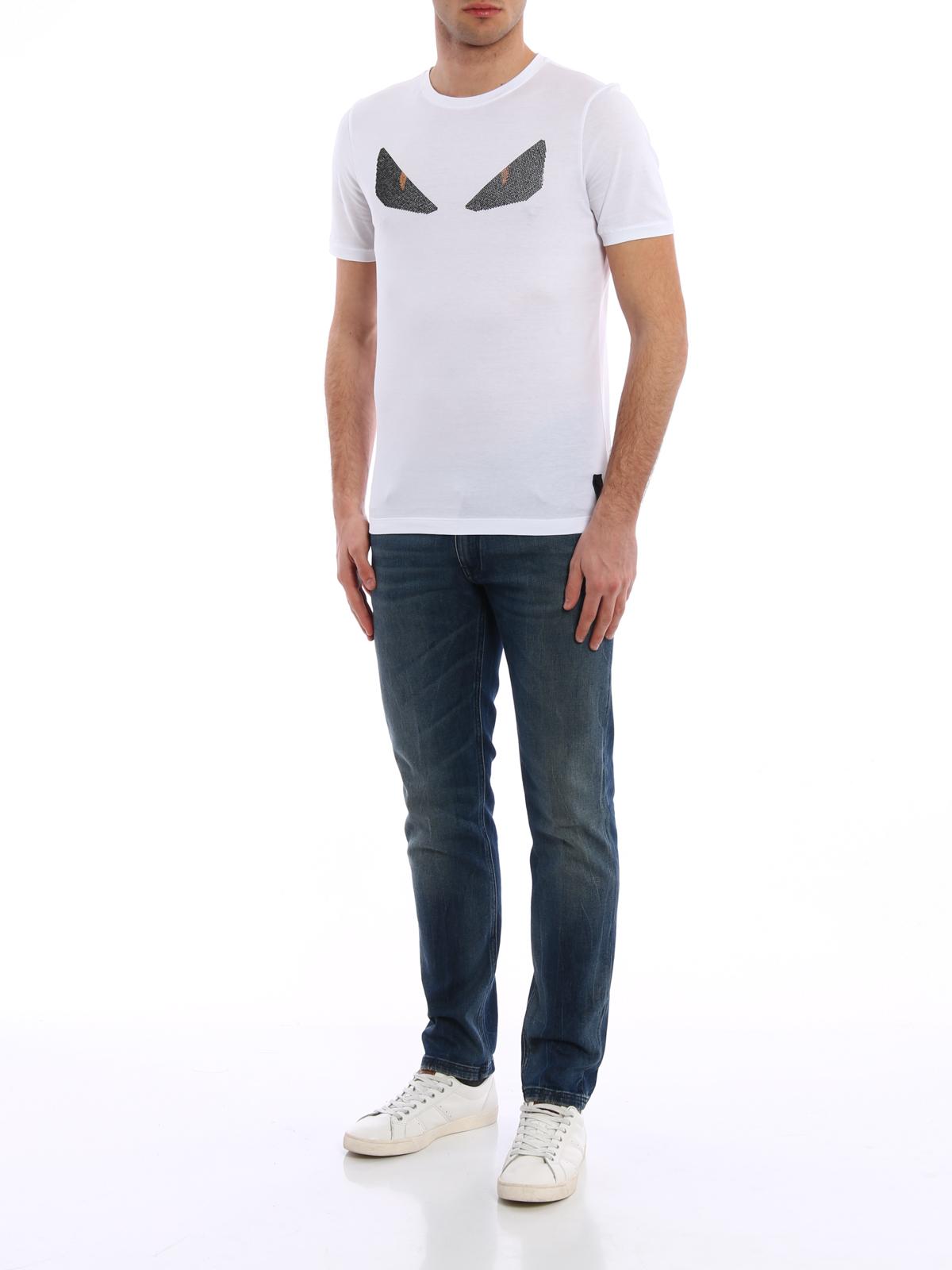 6620521f9dd3 Fendi - Monster eye rhinestone T-shirt - t-shirts - FY0682 1JJ QA0