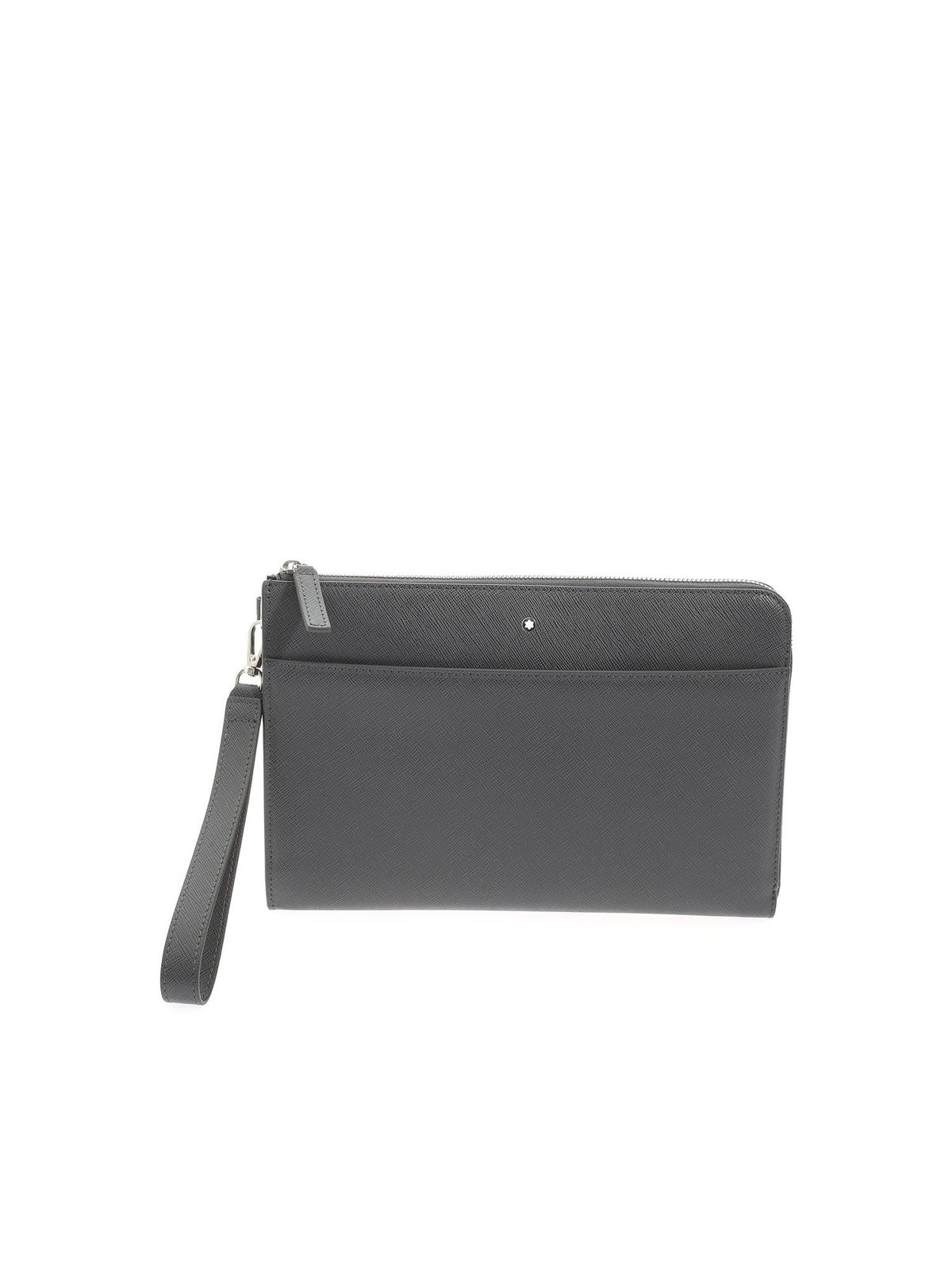 Montblanc EXTERIOR PATCH POCKET CLUTCH BAG IN GREY