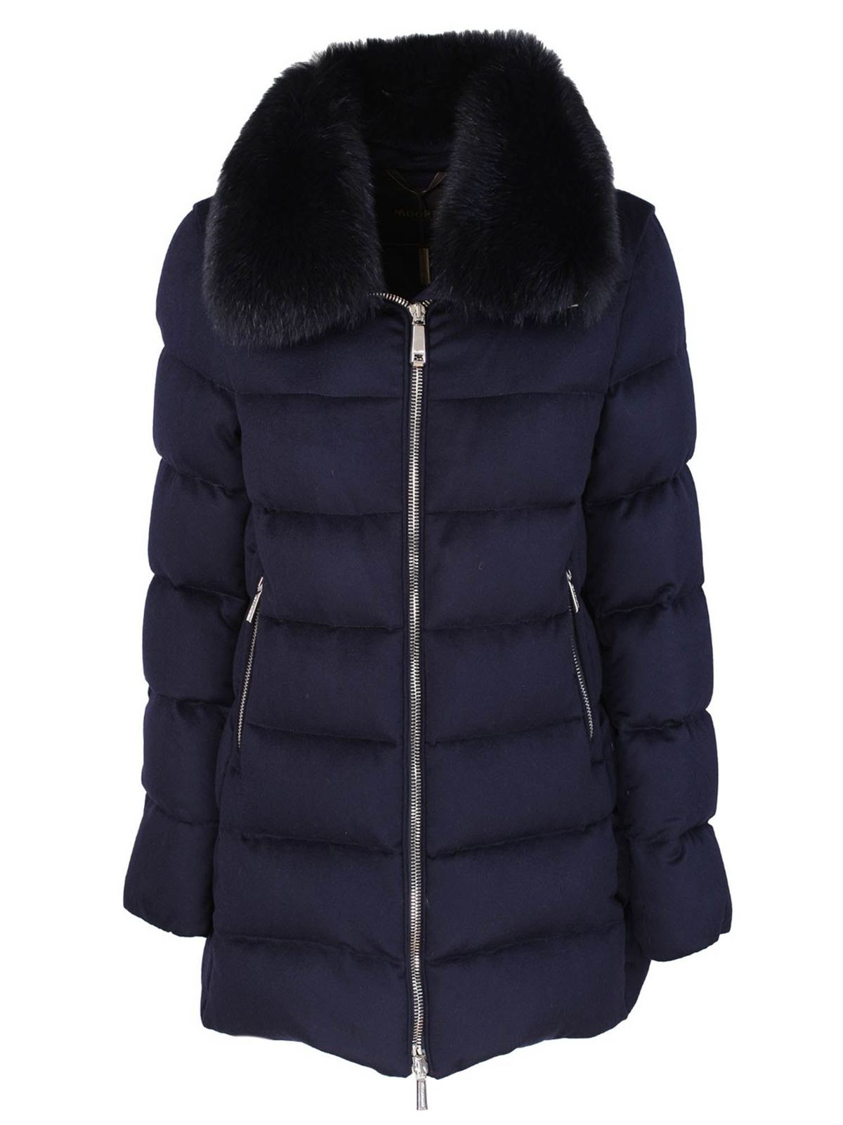 Moorer DOWN JACKET WITH FOX COLLAR IN BLUE