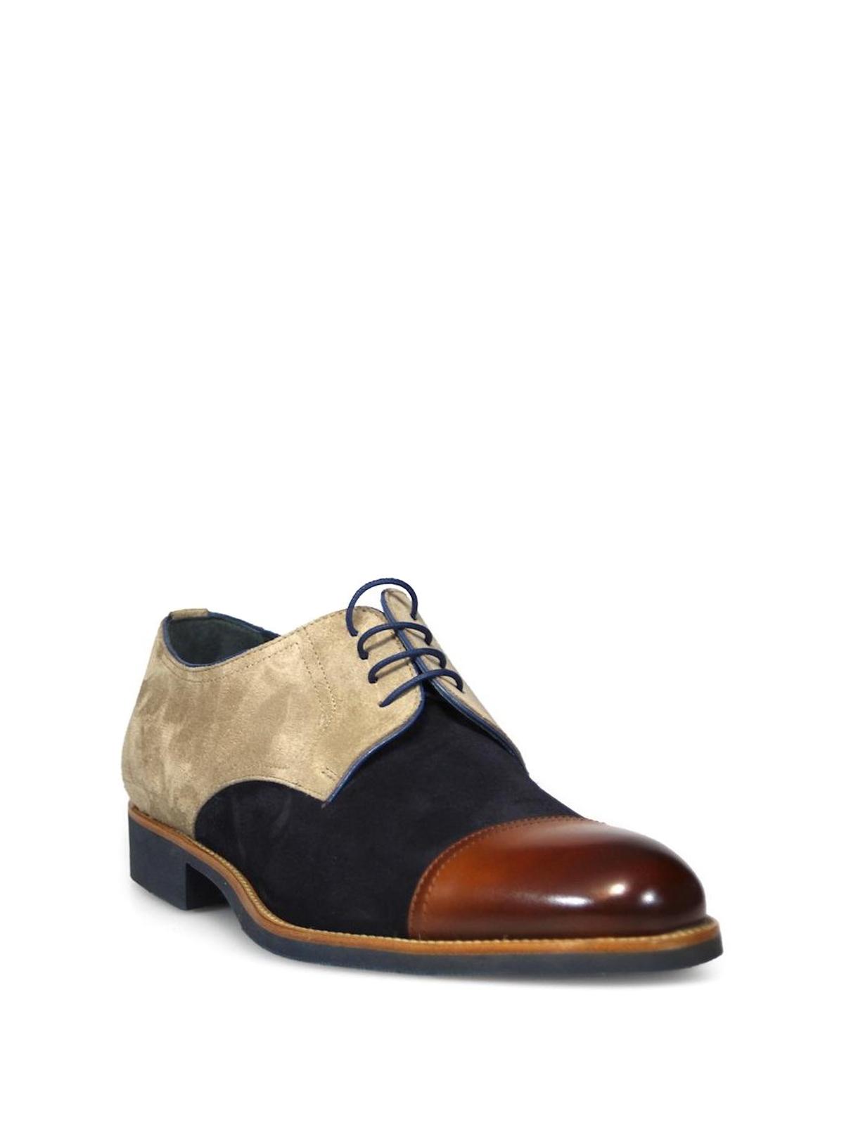 premium selection eb1e8 ec953 Moreschi - Derby in camoscio e pelle tricolore - scarpe ...