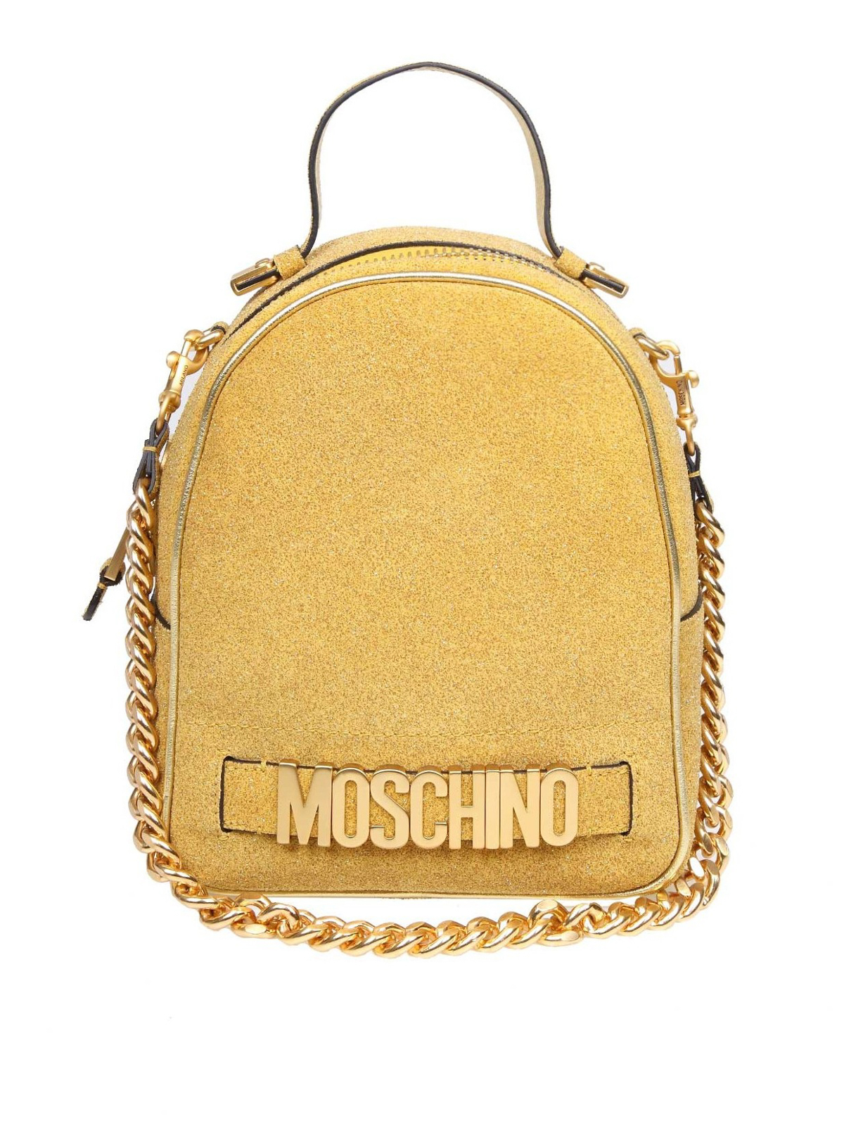 Moschino Zaino in tessuto glitterato oro zaini