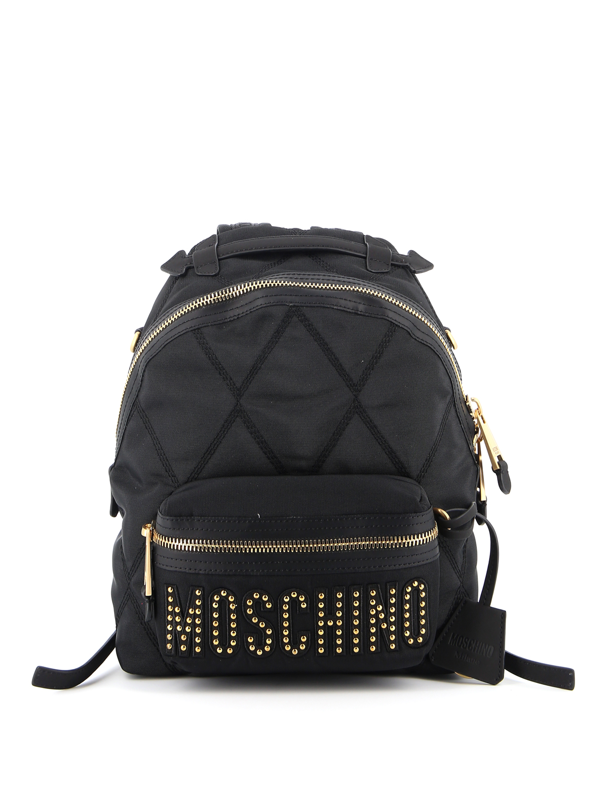 Moschino Studded Gold-tone Logo Backpack In Black
