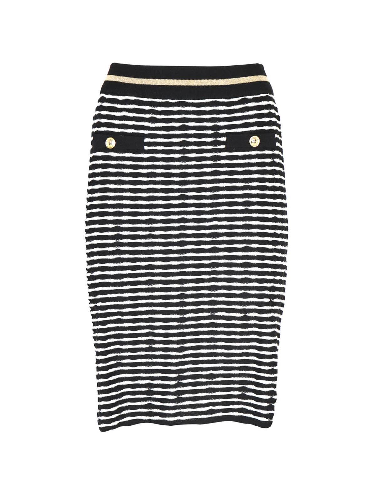 Moschino Boutique Pants STRIPED STRETCH SKIRT IN WHITE AND BLACK