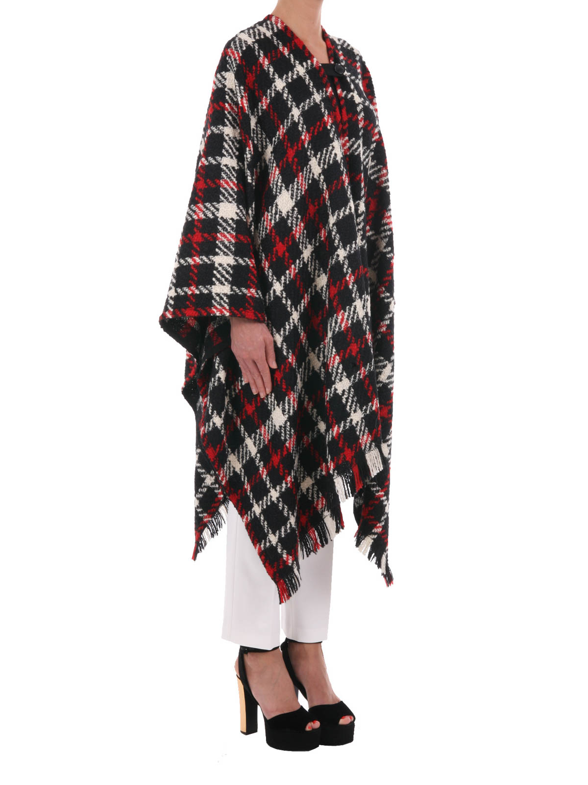 Moschino Boutique - Tartan wool blend cape - Capes & Ponchos