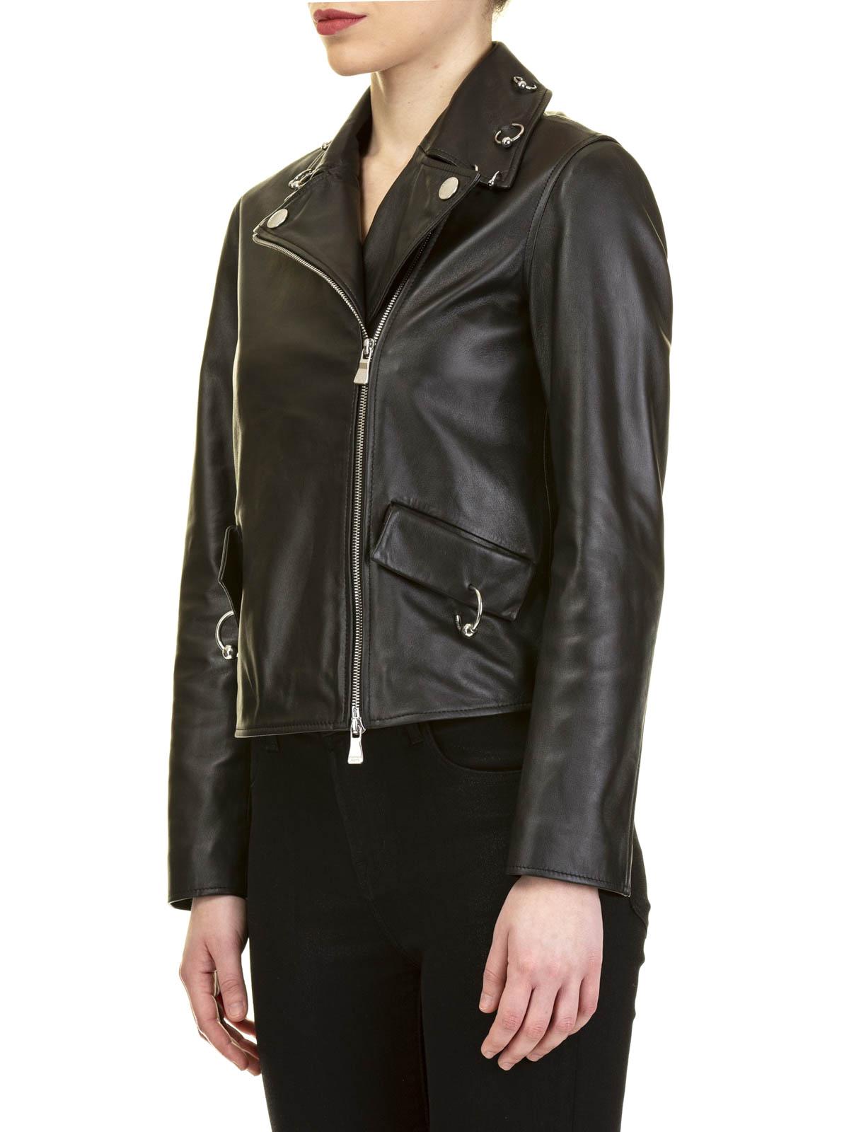 Moschino Boutique - Piercing detailed nappa biker jacket - چرم -  J370811700555