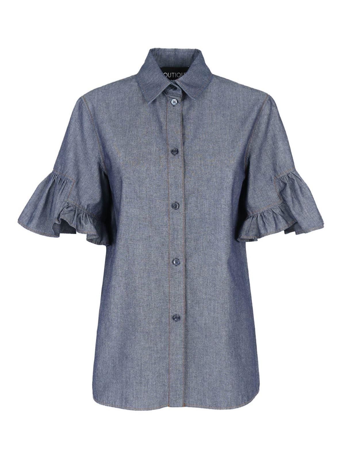 Moschino Boutique Shirts RUFFLE JEANS SHIRT IN BLUE