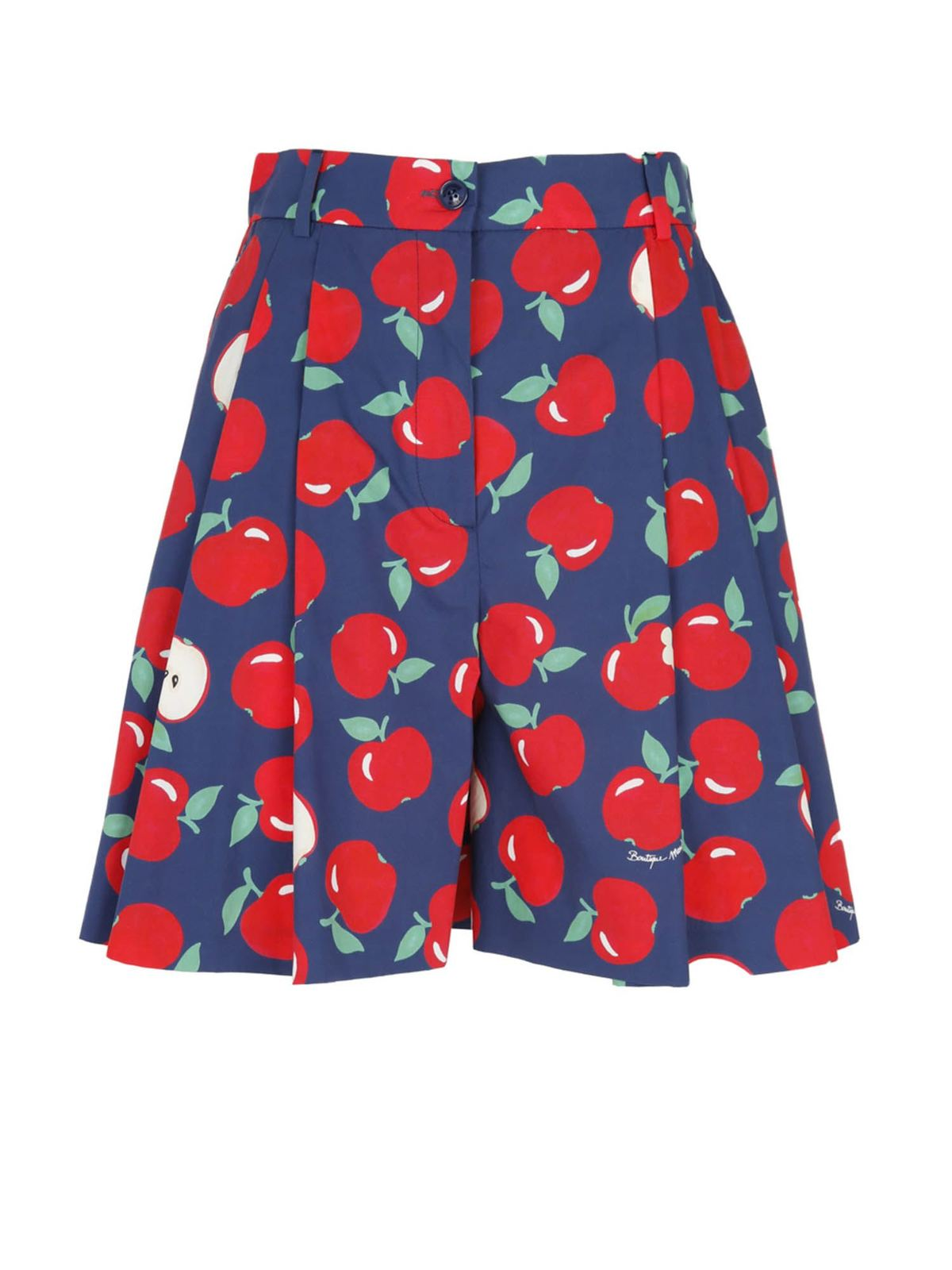 Moschino Boutique Cottons APPLE PRINT BERMUDA SHORTS IN BLUE AND RED