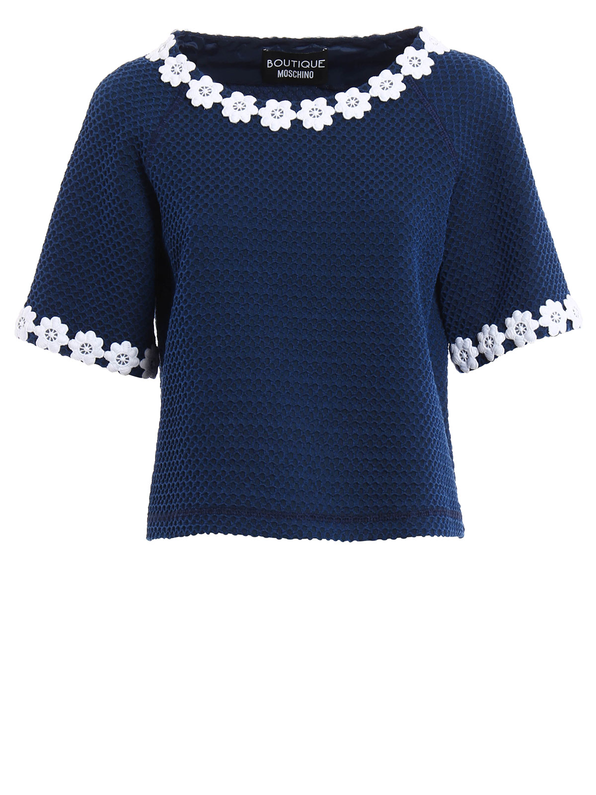 Embroidered collar knitted t shirt by moschino boutique
