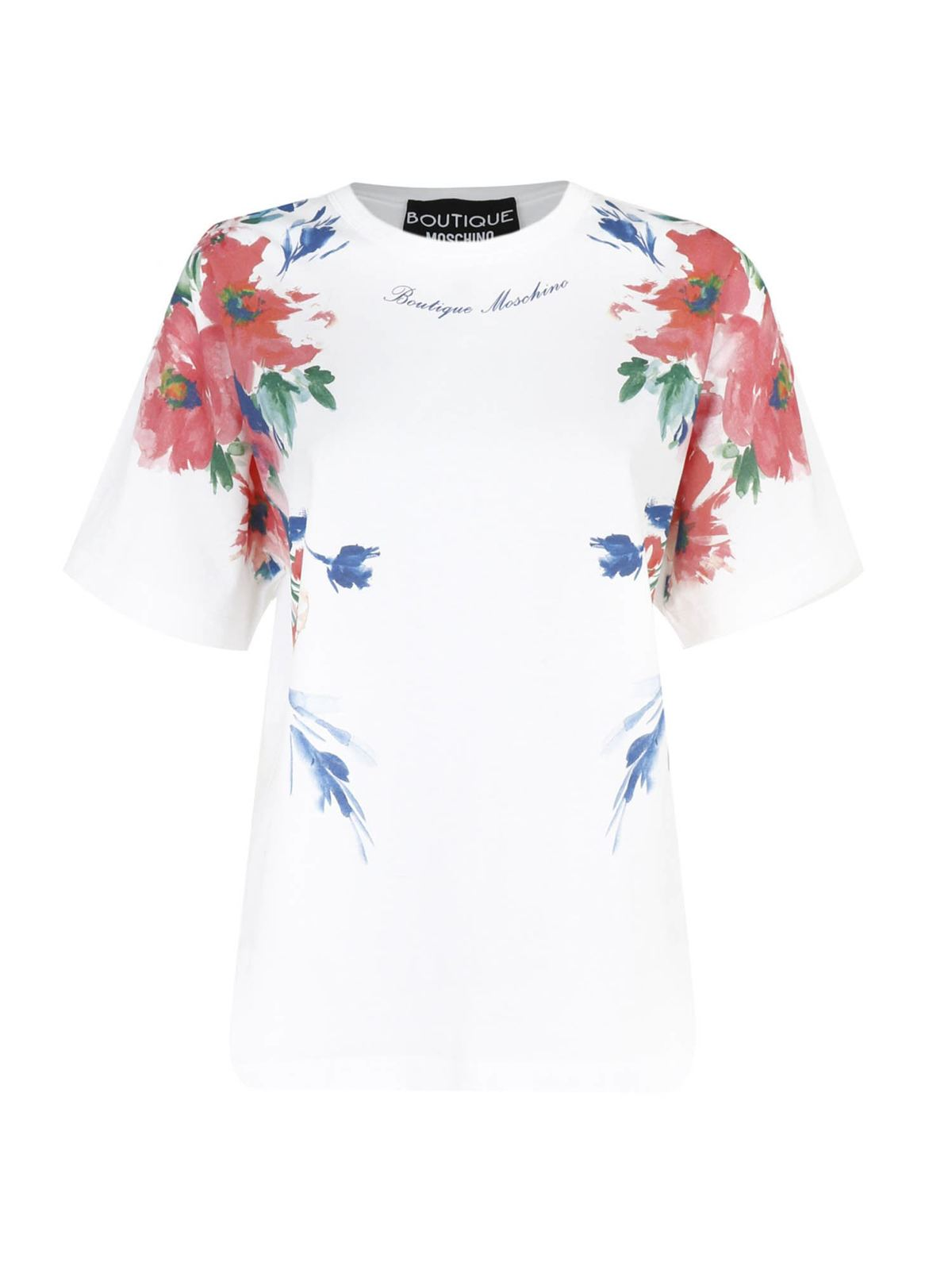 Moschino Boutique Cottons FLORAL PRINT T-SHIRT IN WHITE