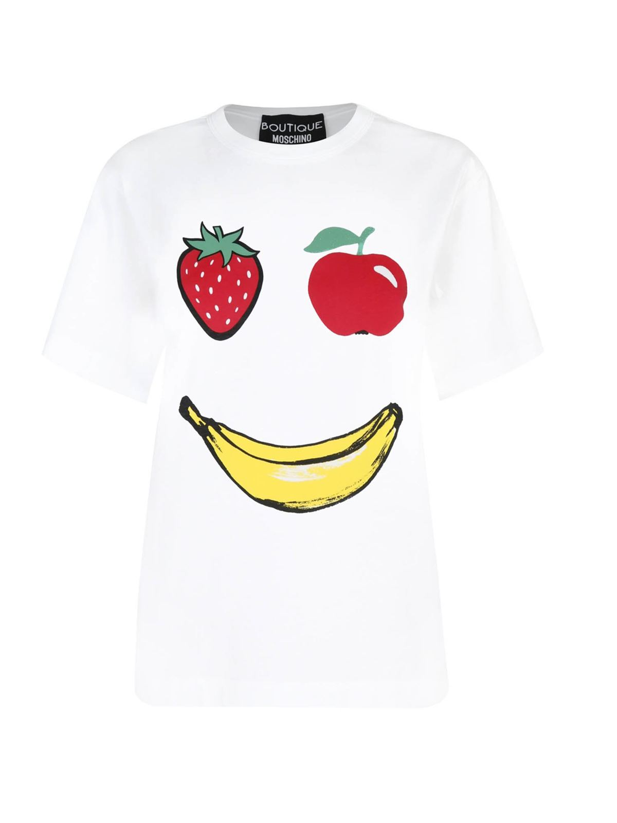 Moschino Boutique Cottons FRUIT SMILE PRINT T-SHIRT IN WHITE