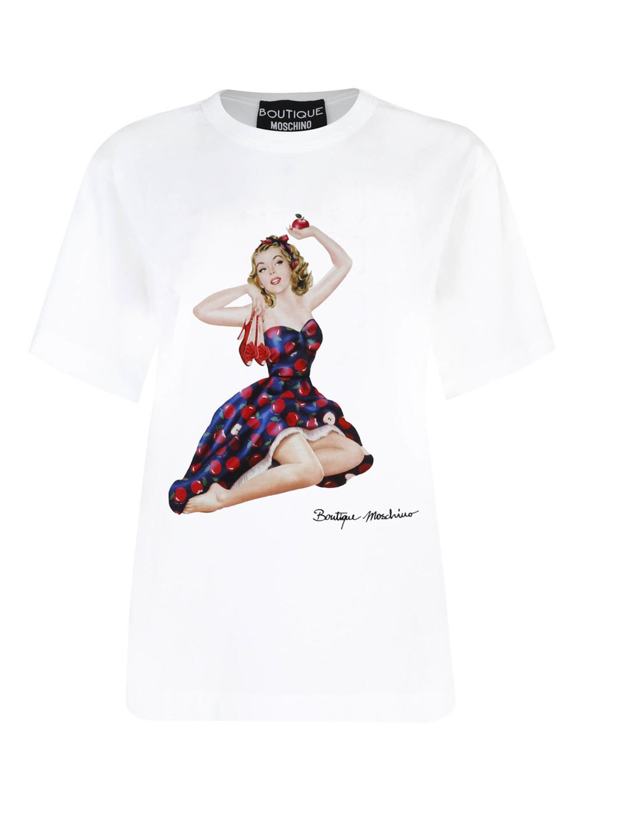 Moschino Boutique Cottons PIN UP APPLES PRINT T-SHIRT IN WHITE