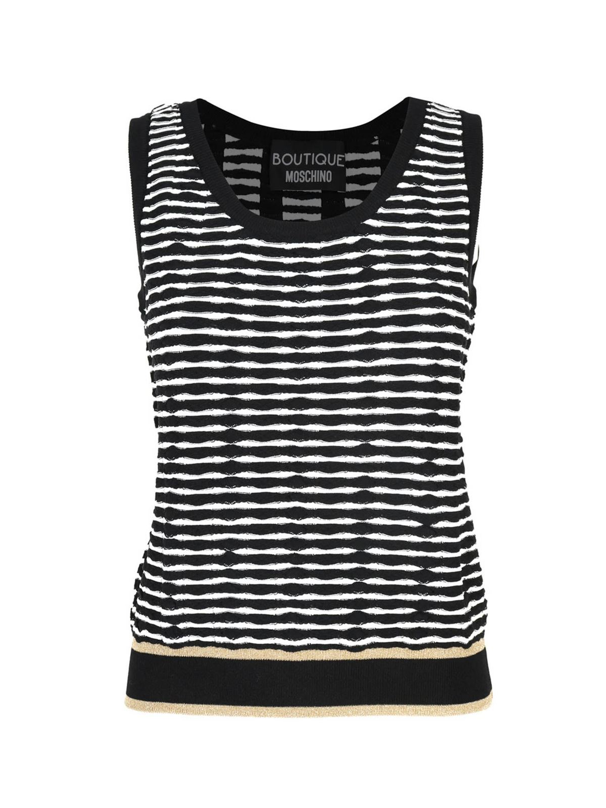 Moschino Boutique Tops STRIPED STRETCH TOP IN WHITE AND BLACK