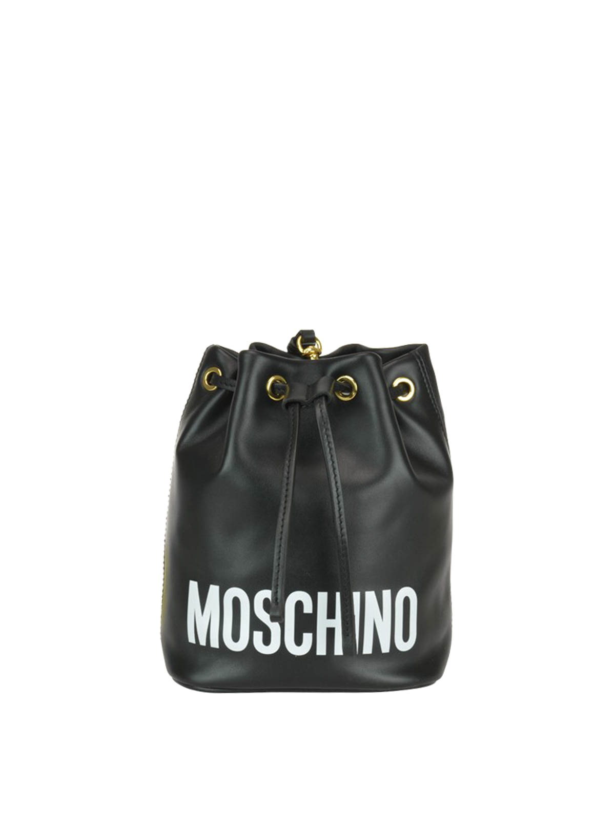 c627ad7957 Moschino - Logo lettering black leather bucket bag - Bucket bags ...