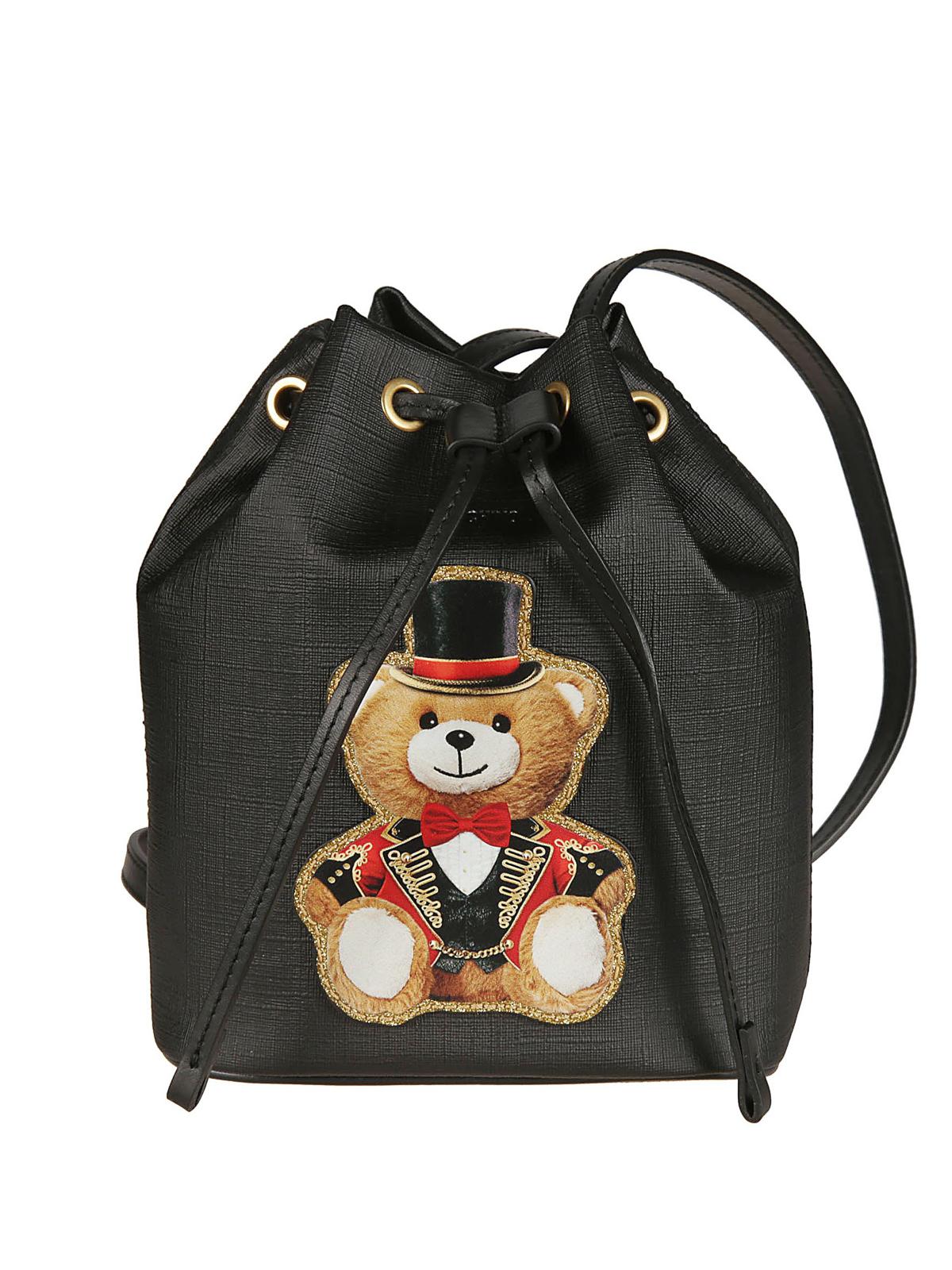 660fad0a07 Moschino - Teddy Bear Circus leather effect bucket bag - Bucket bags ...