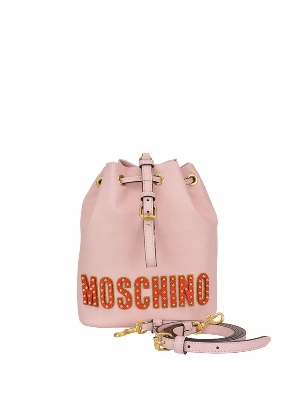 f31d6033f2 Moschino - Teddy Bear Circus pink leather bucket bag - Bucket bags ...