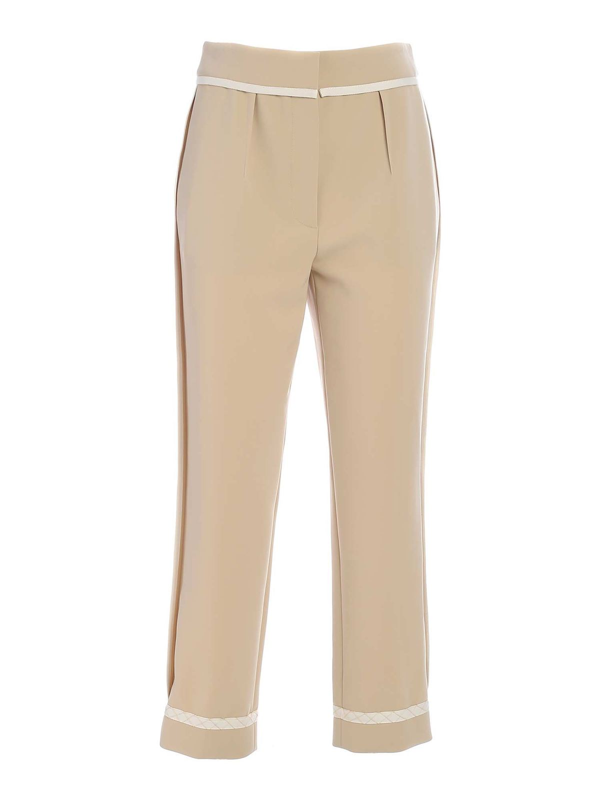 Moschino Linings CONTRASTING DETAILS PANTS IN BEIGE