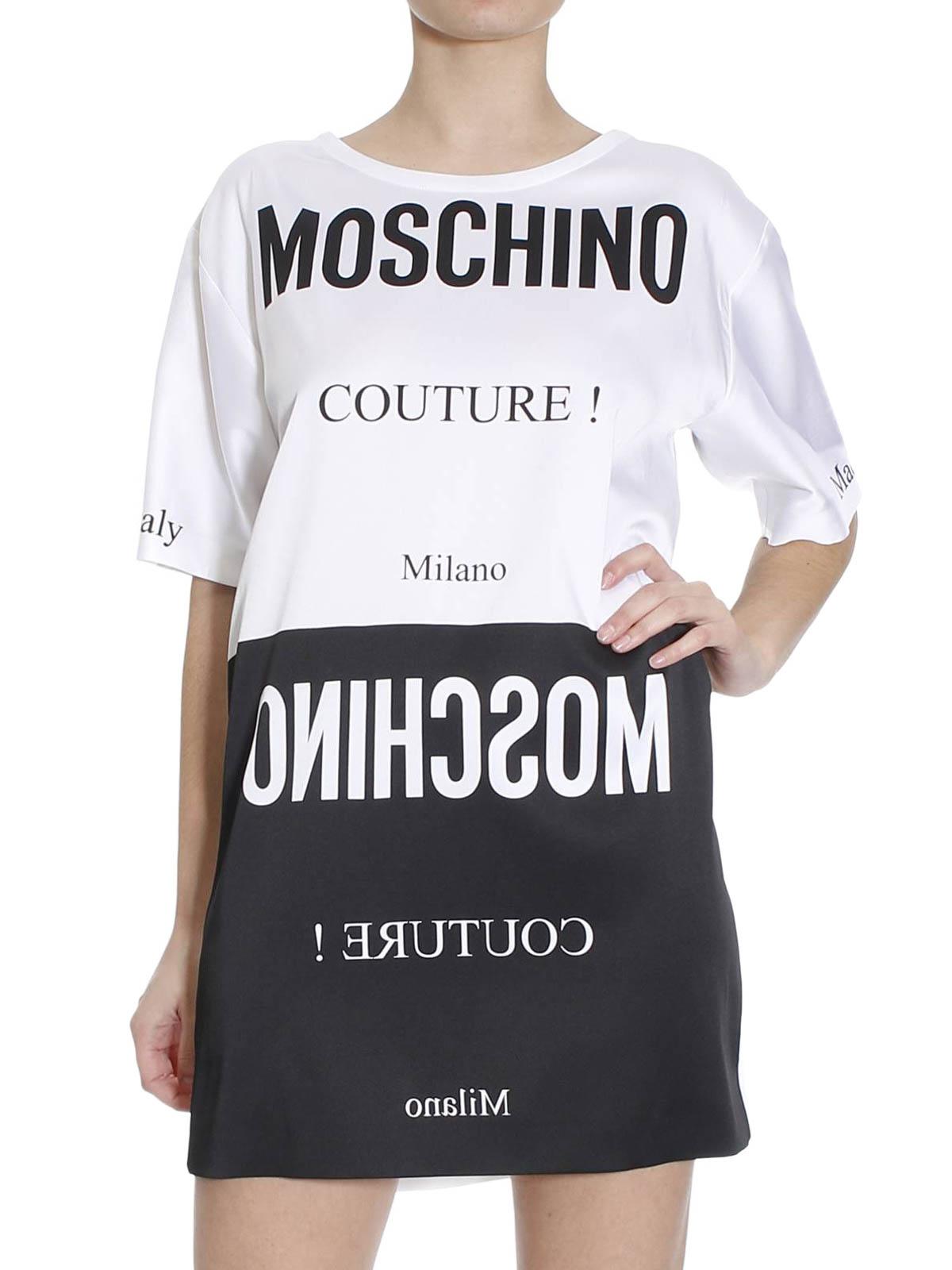 sneakers for cheap 430c7 9eeca Moschino Couture - Abito bicolore con scritte - abiti corti ...