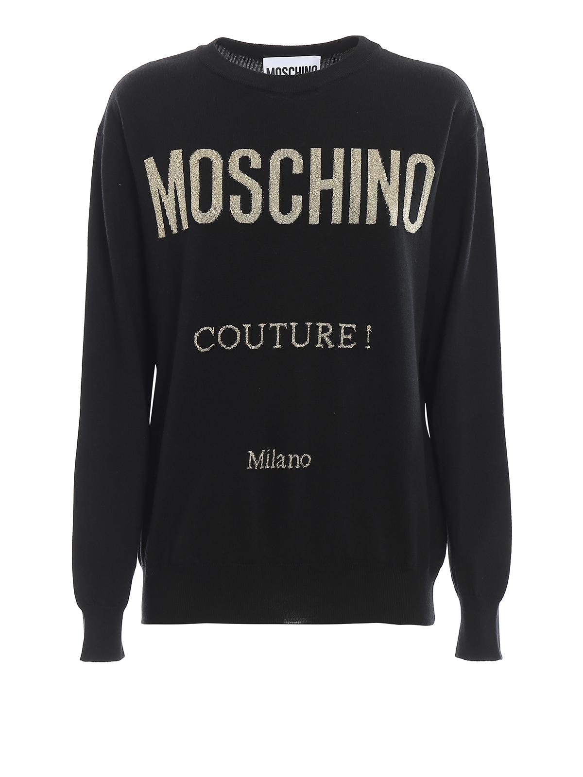 Moschino Maglia nera in lana Moschino Couture ! maglia