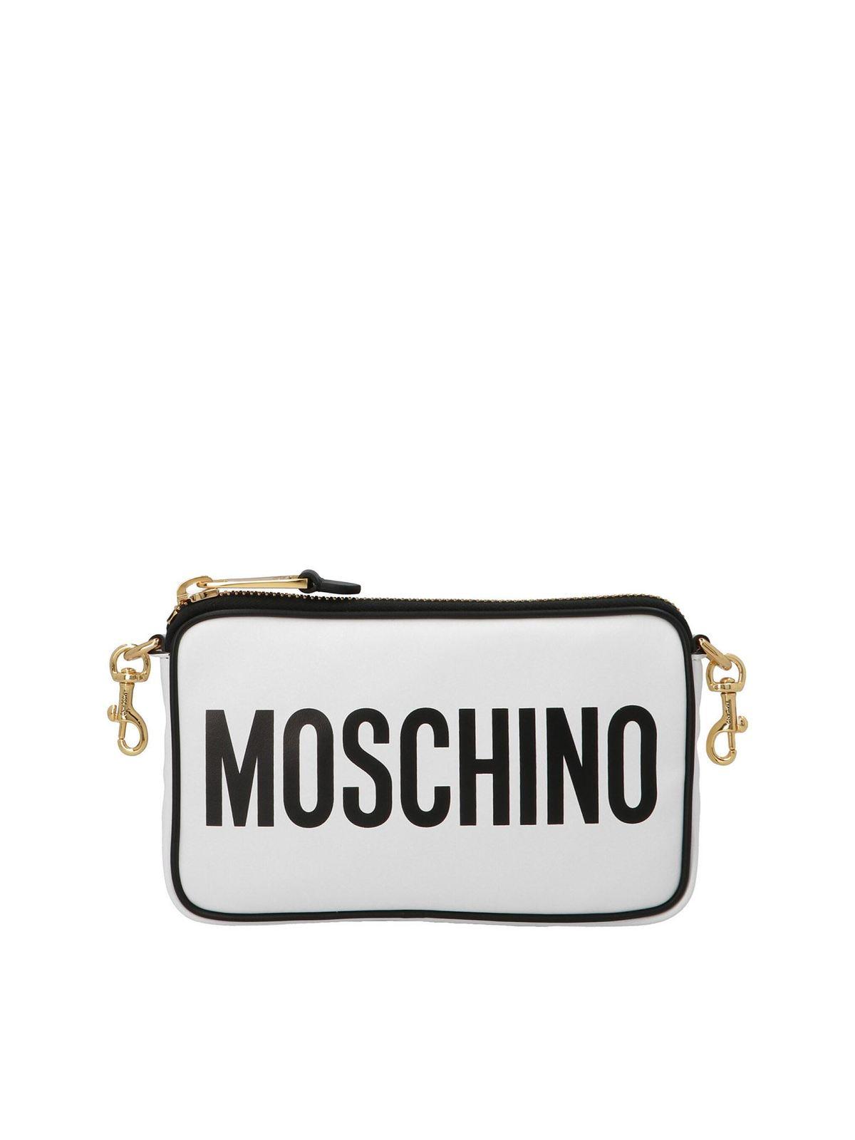 MOSCHINO LOGO SHOULDER BAG IN WHITE