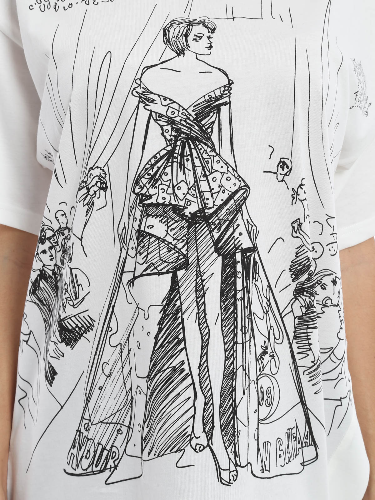 Moschino Fashion Show Sketch Print T Shirt T Shirts