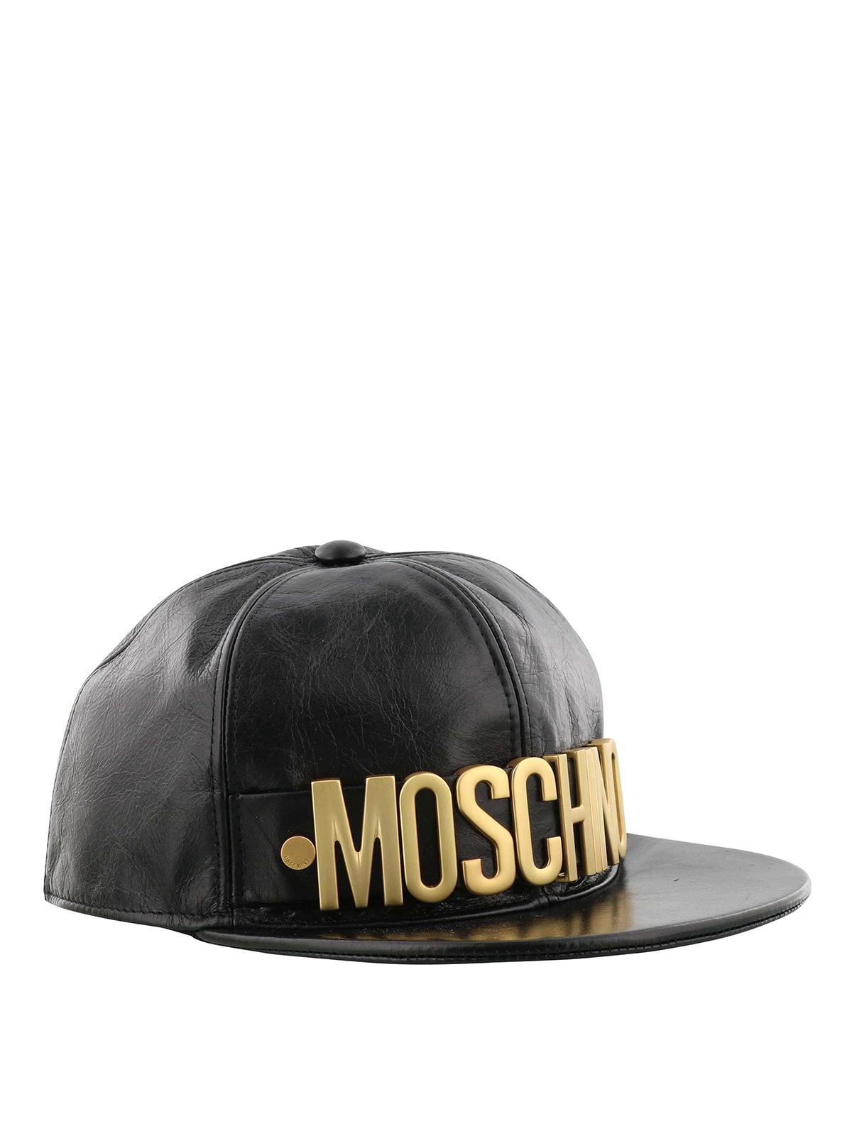 4effa4b0b9a Moschino - Gold-tone logo crackle leather baseball cap - hats   caps ...