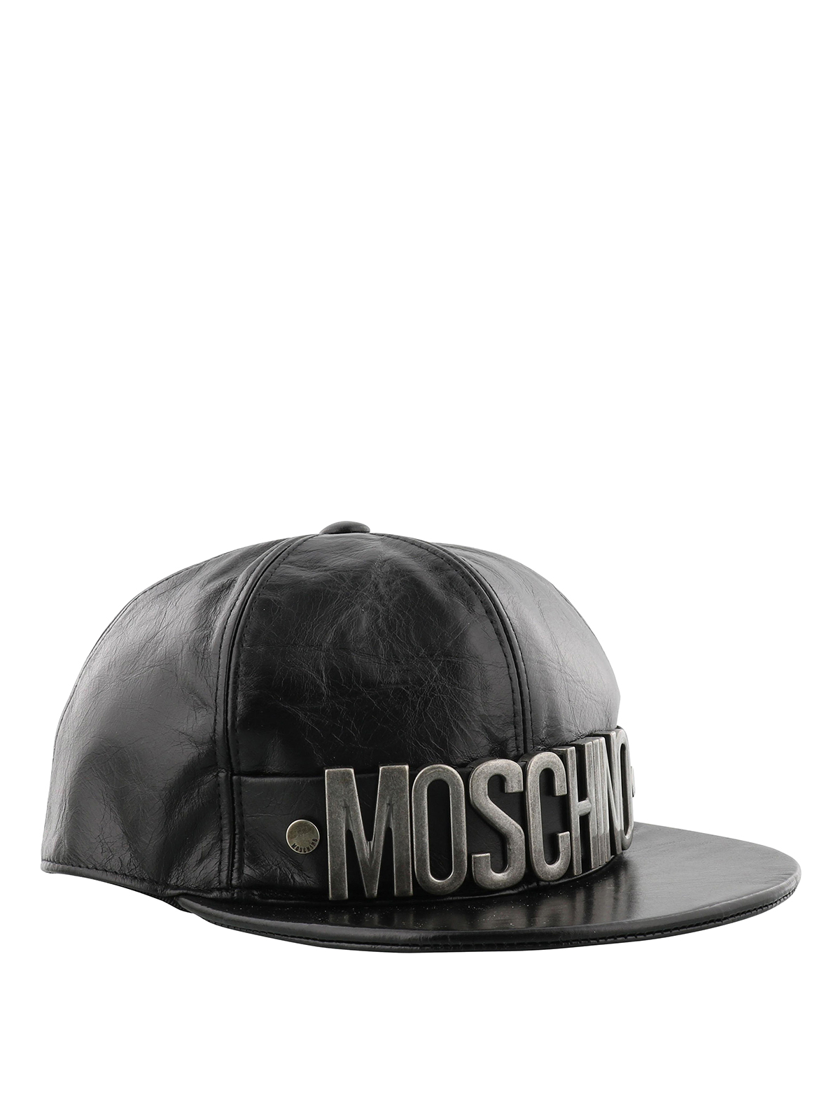 70f7a34216a Moschino - Metal logo crackle leather baseball cap - hats   caps ...