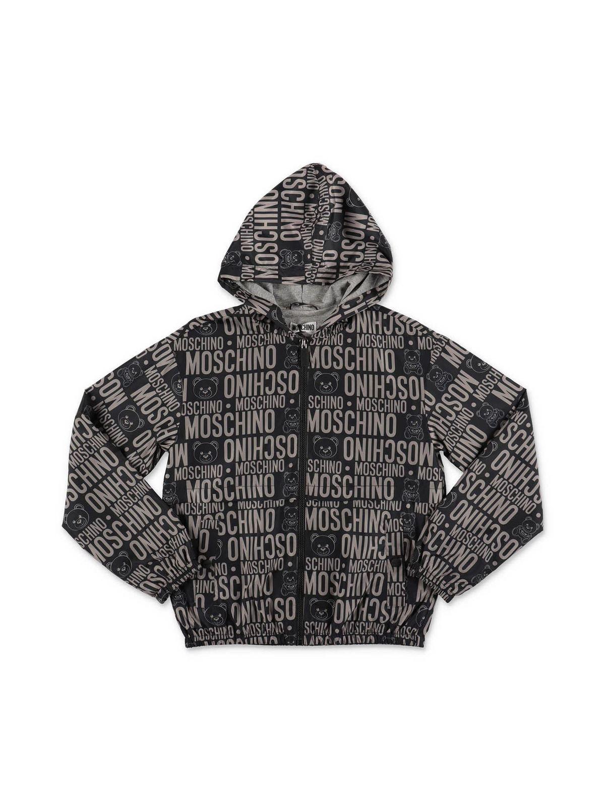 Moschino Kids' Black Allover Logo Jacket