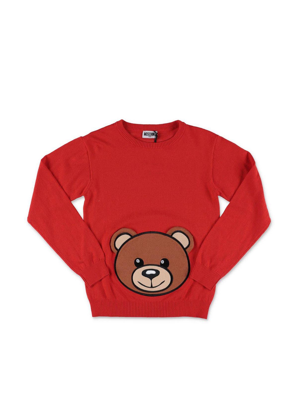 MOSCHINO RED TEDDY BEAR SWEATER