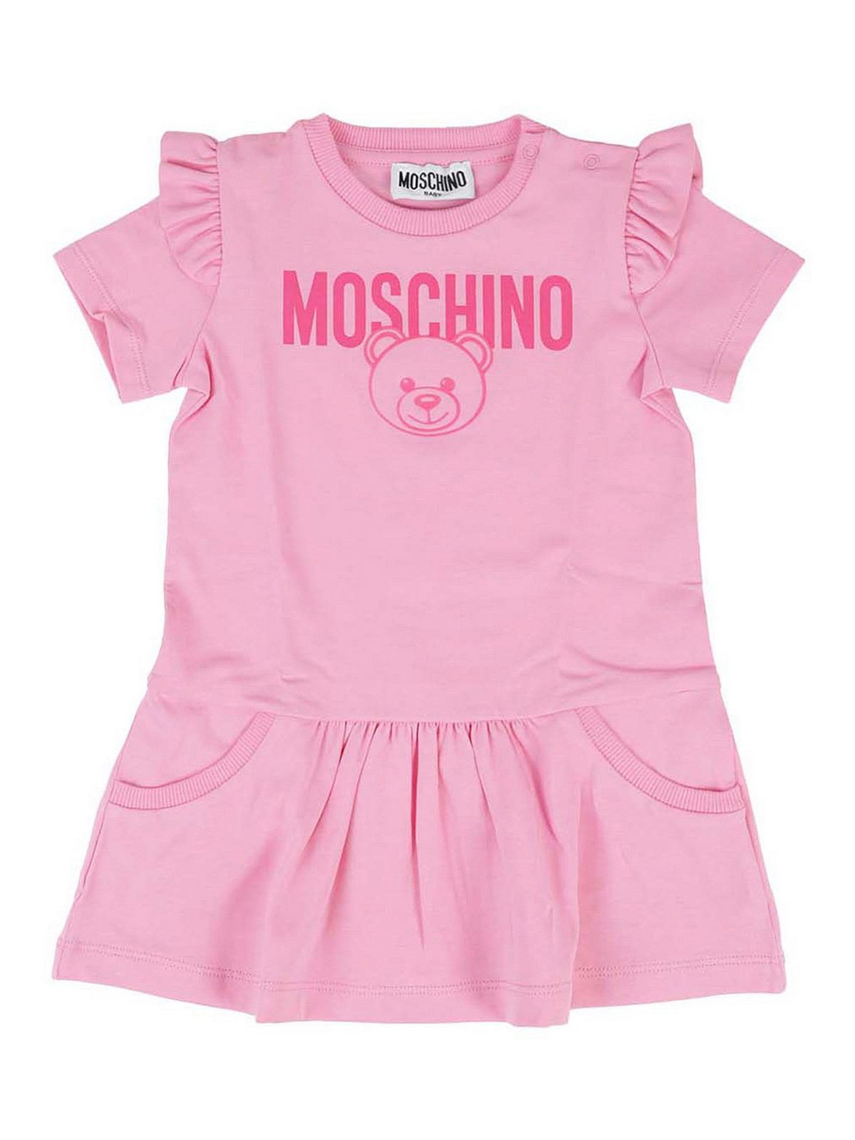 Moschino Kids' Teddy Print Cotton Dress In Pink