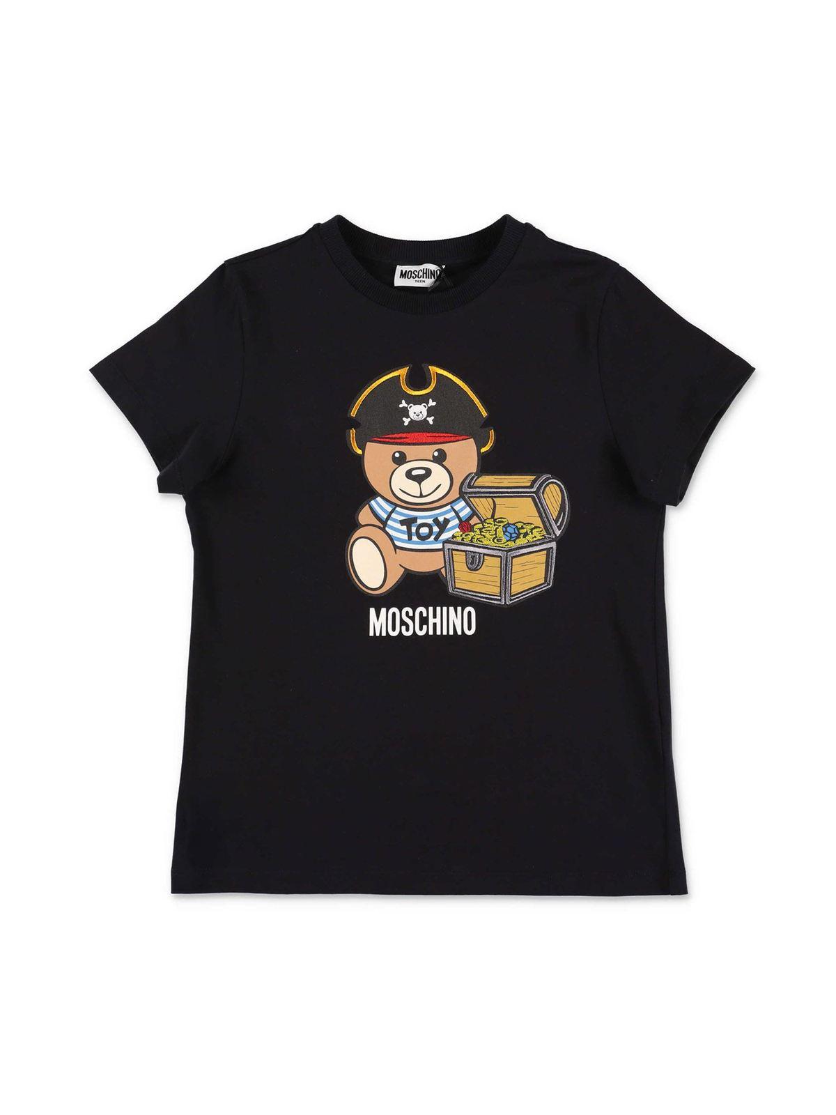 Moschino PIRATE TEDY BEAR T-SHIRT IN BLACK
