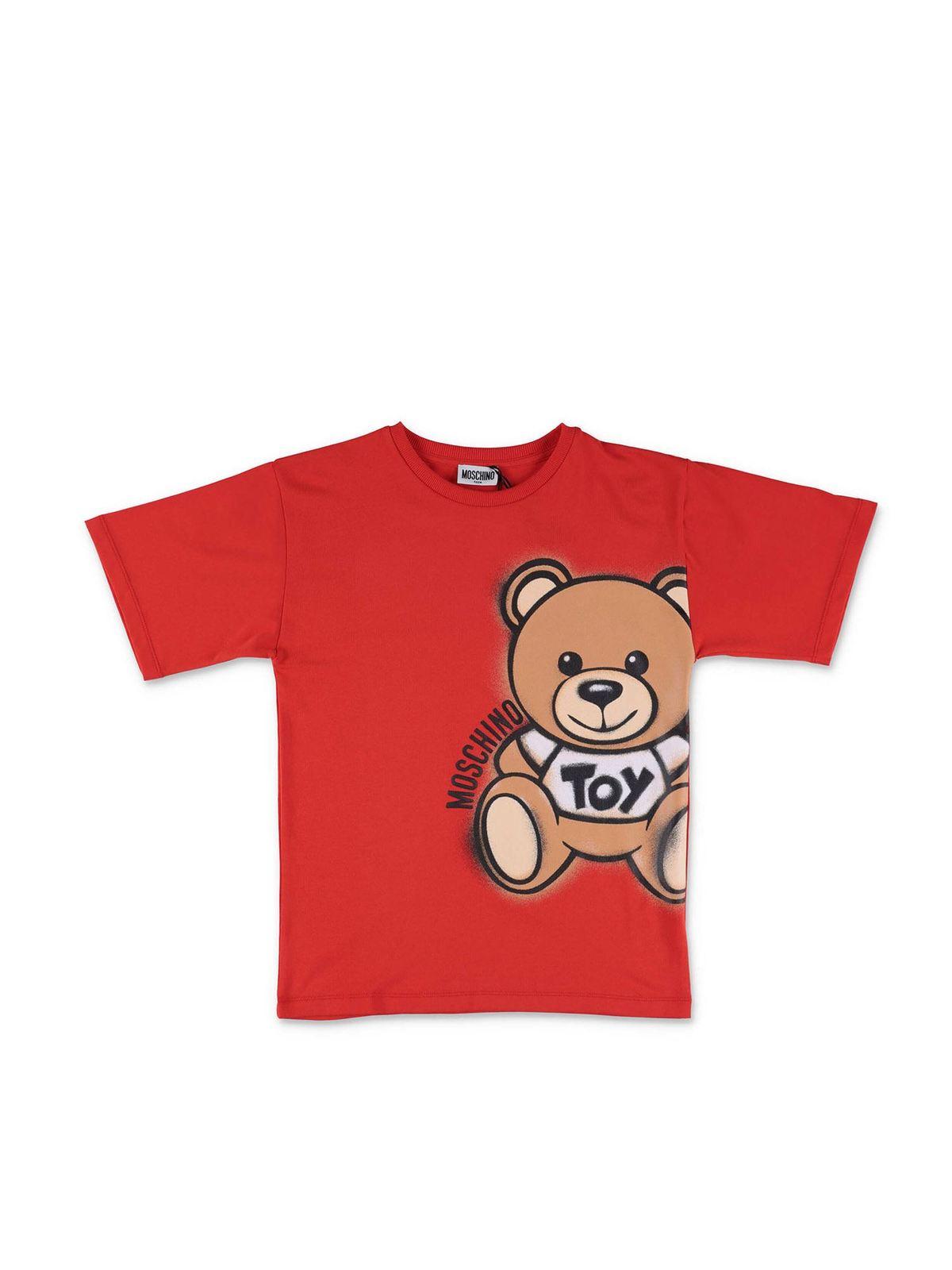 MOSCHINO SPRAY TEDDY BEAR MAXI T-SHIRT IN RED