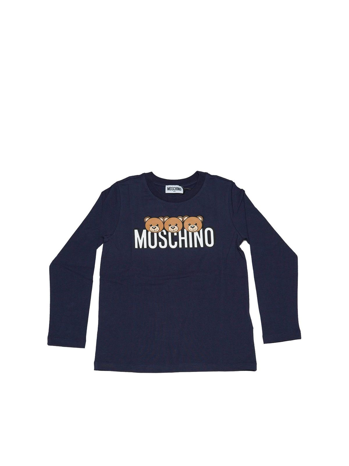 Moschino Cottons TEDDY PRINT T-SHIRT IN BLUE