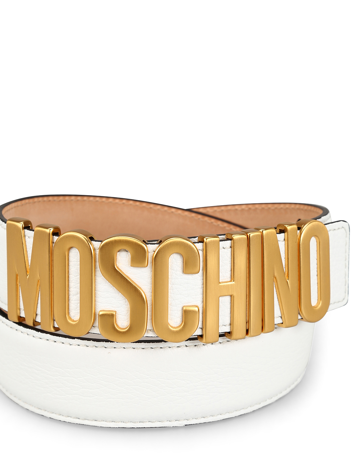rivenditore di vendita 3eb00 eef41 Moschino - Cintura in pelle martellata bianca con logo ...