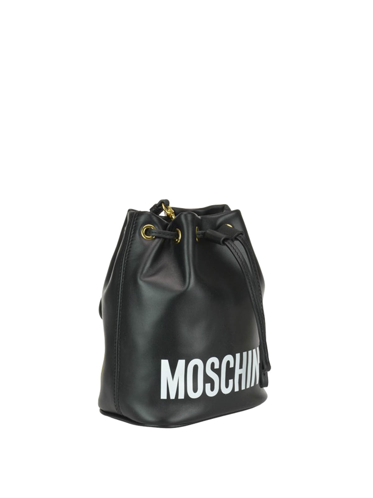 2c9074c00e MOSCHINO: Bucket bags online - Logo lettering black leather bucket bag