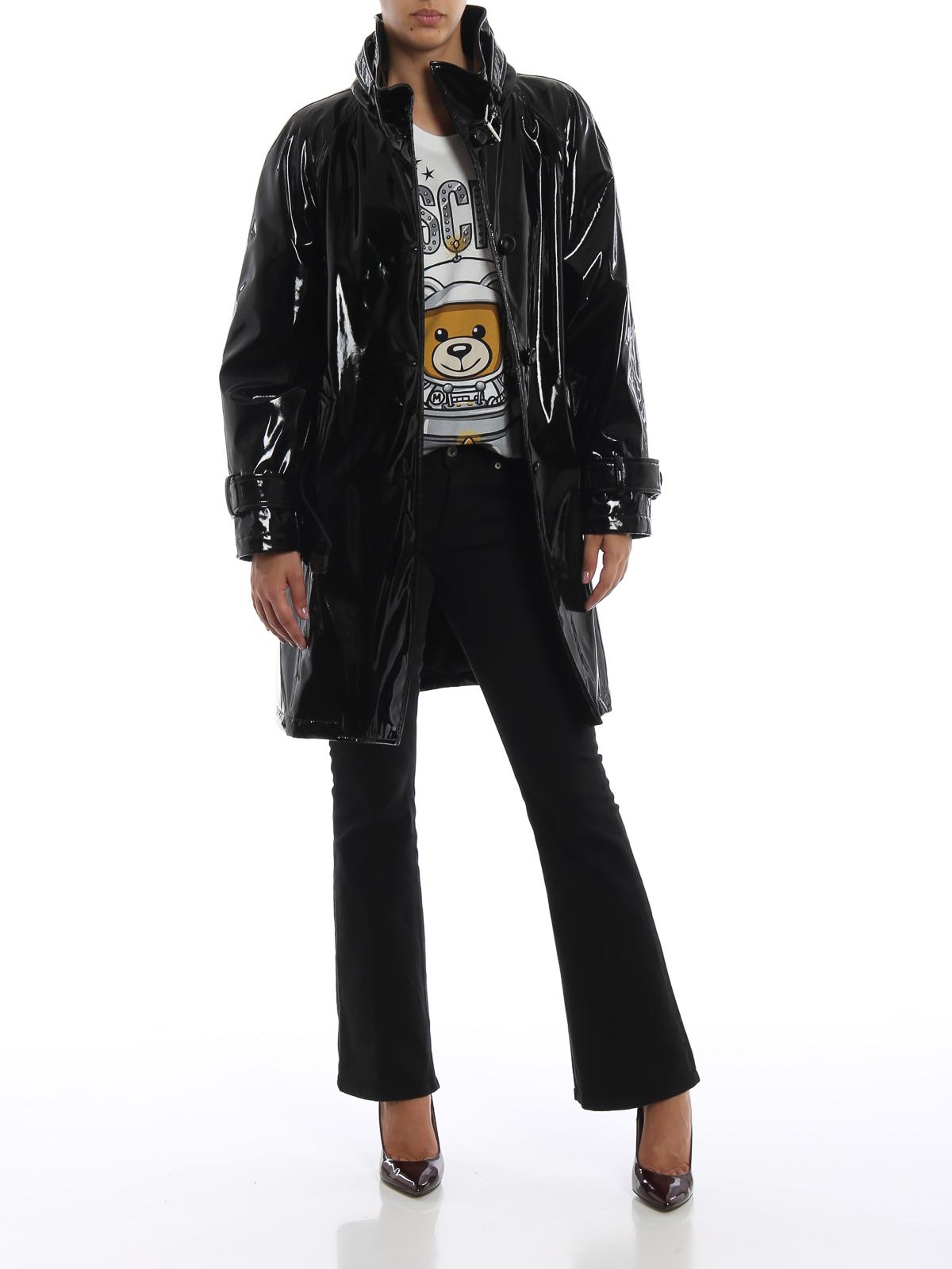 Moschino Black Glossy Vinyl Trench Coat Trench Coats