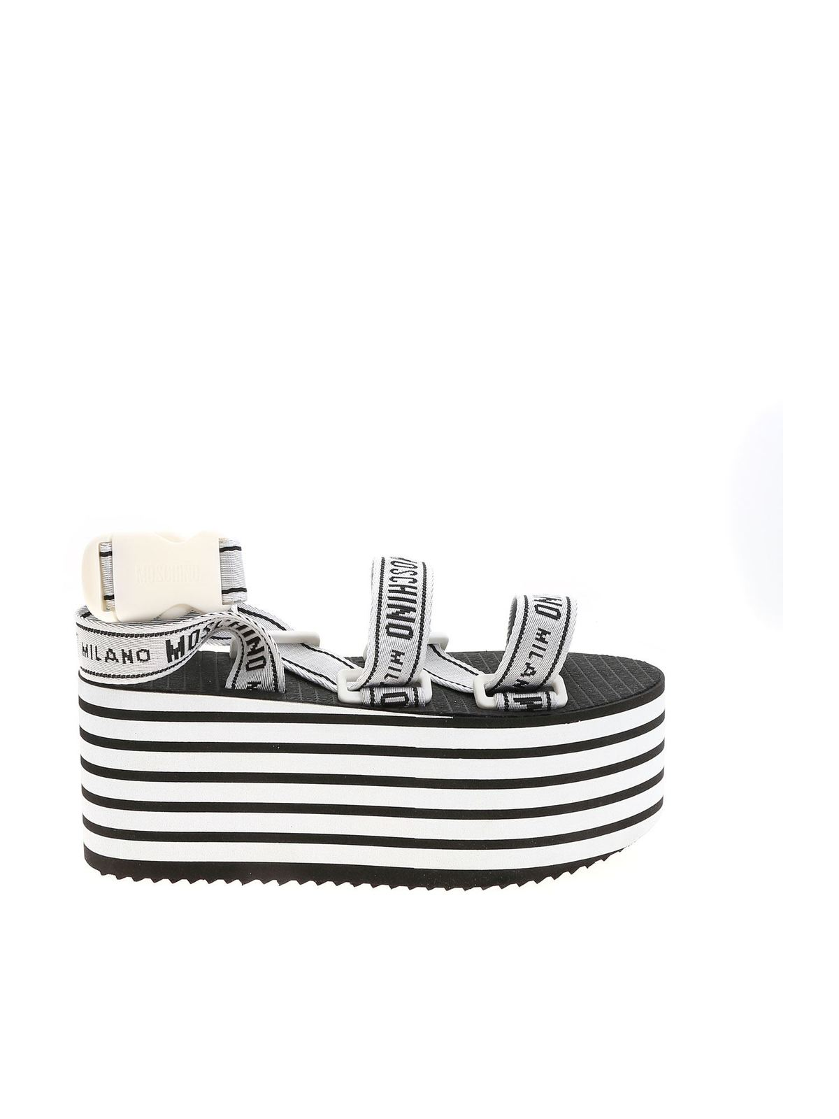 Moschino Wedges TAPE LOGO WEDGE SANDALS IN WHITE