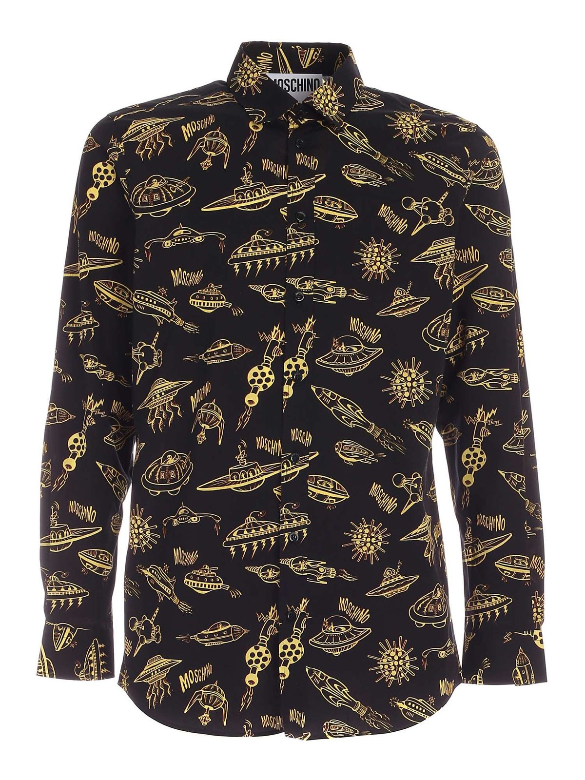 Moschino CONTRASTING PRINT SHIRT IN BLACK