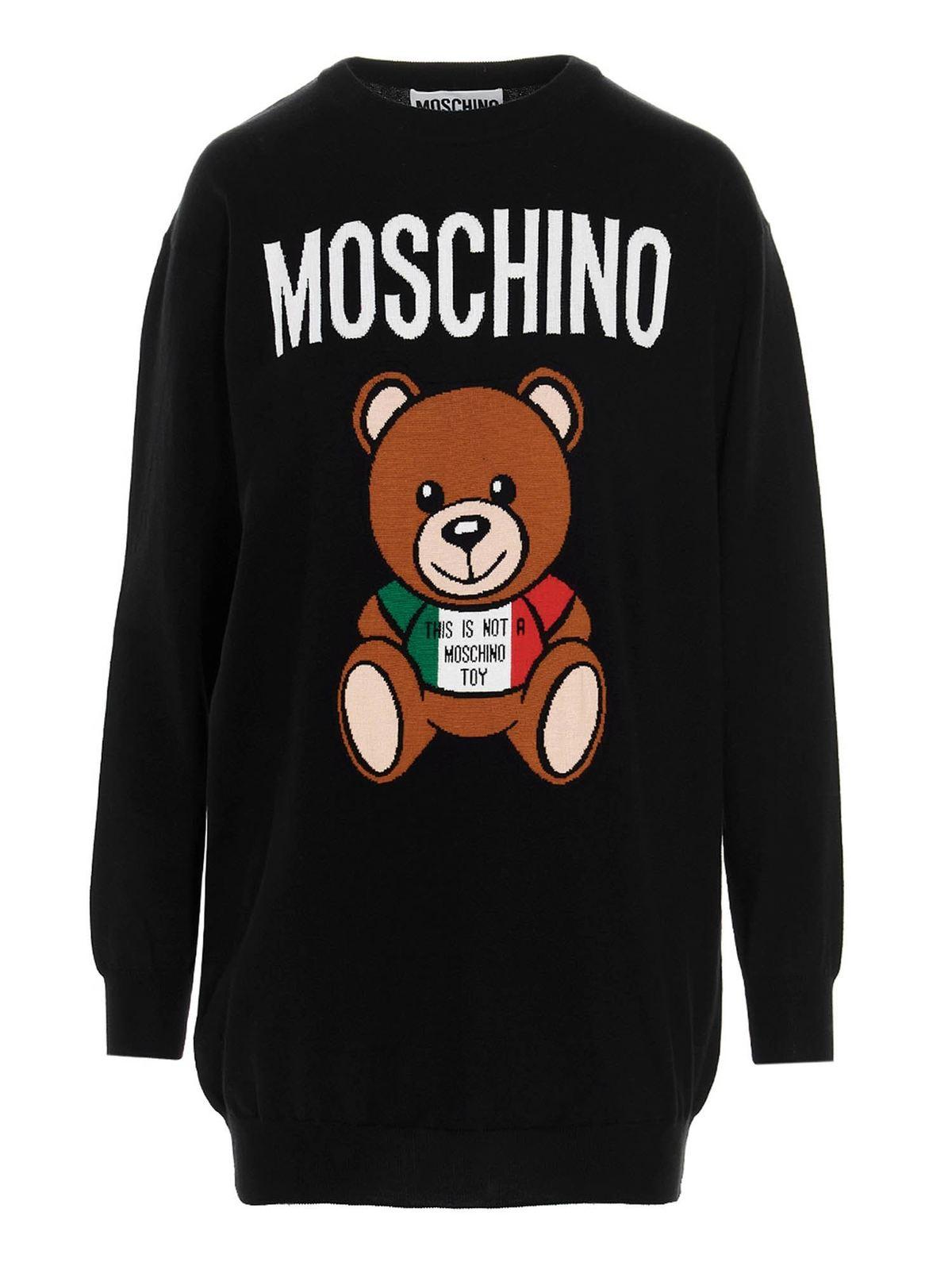 Moschino ITALIAN TEDDY BEAR SHORT DRESS IN BLACK
