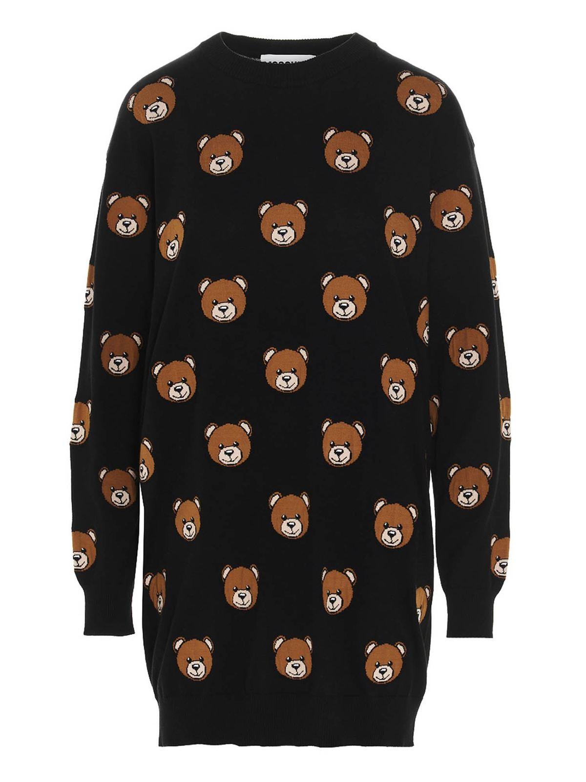 Moschino TEDDY BEAR ALL-OVER SHORT DRESS IN BLACK
